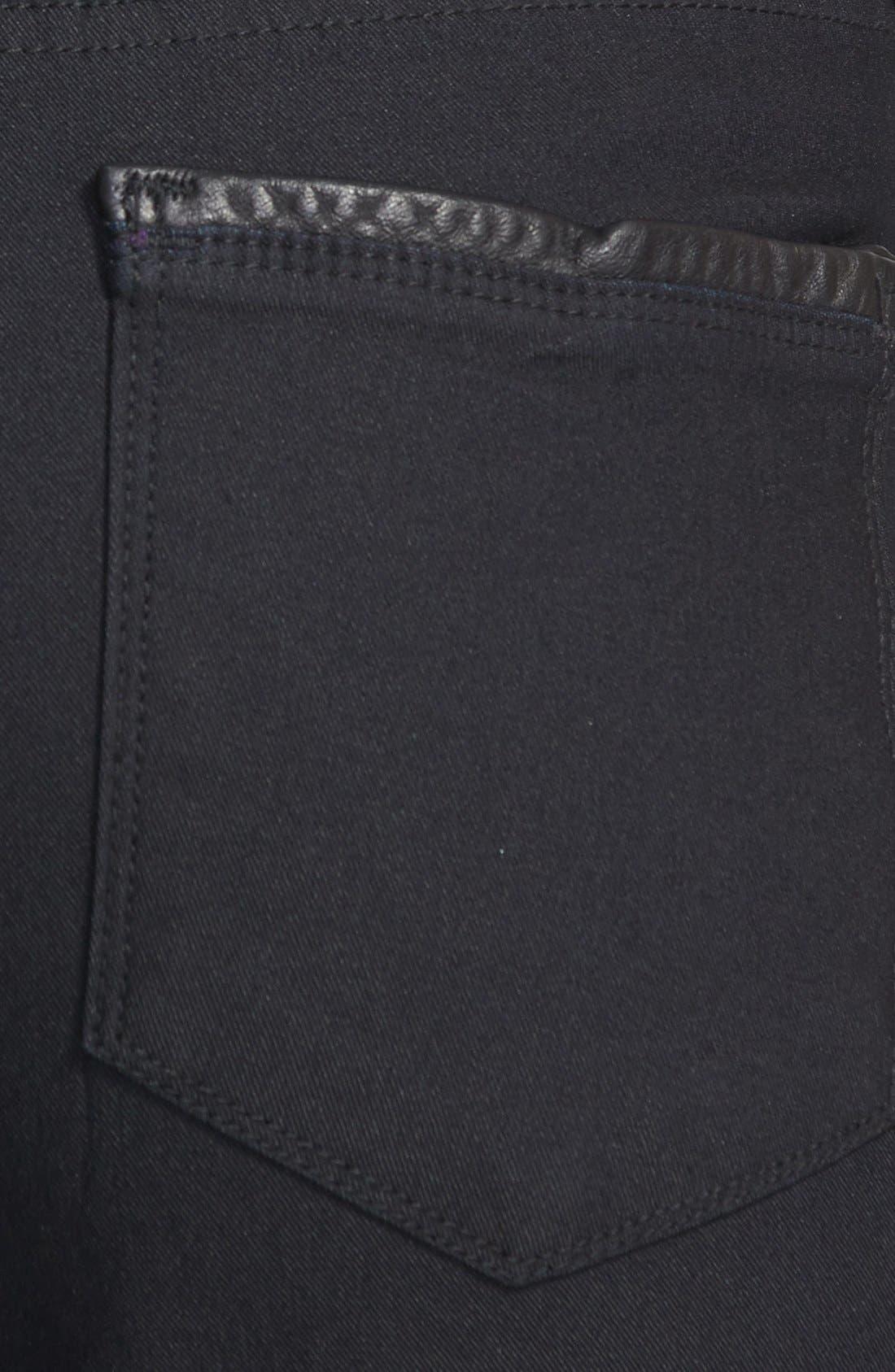 'Megan' Faux Leather Trim Stretch Skinny Jeans,                             Alternate thumbnail 5, color,                             460