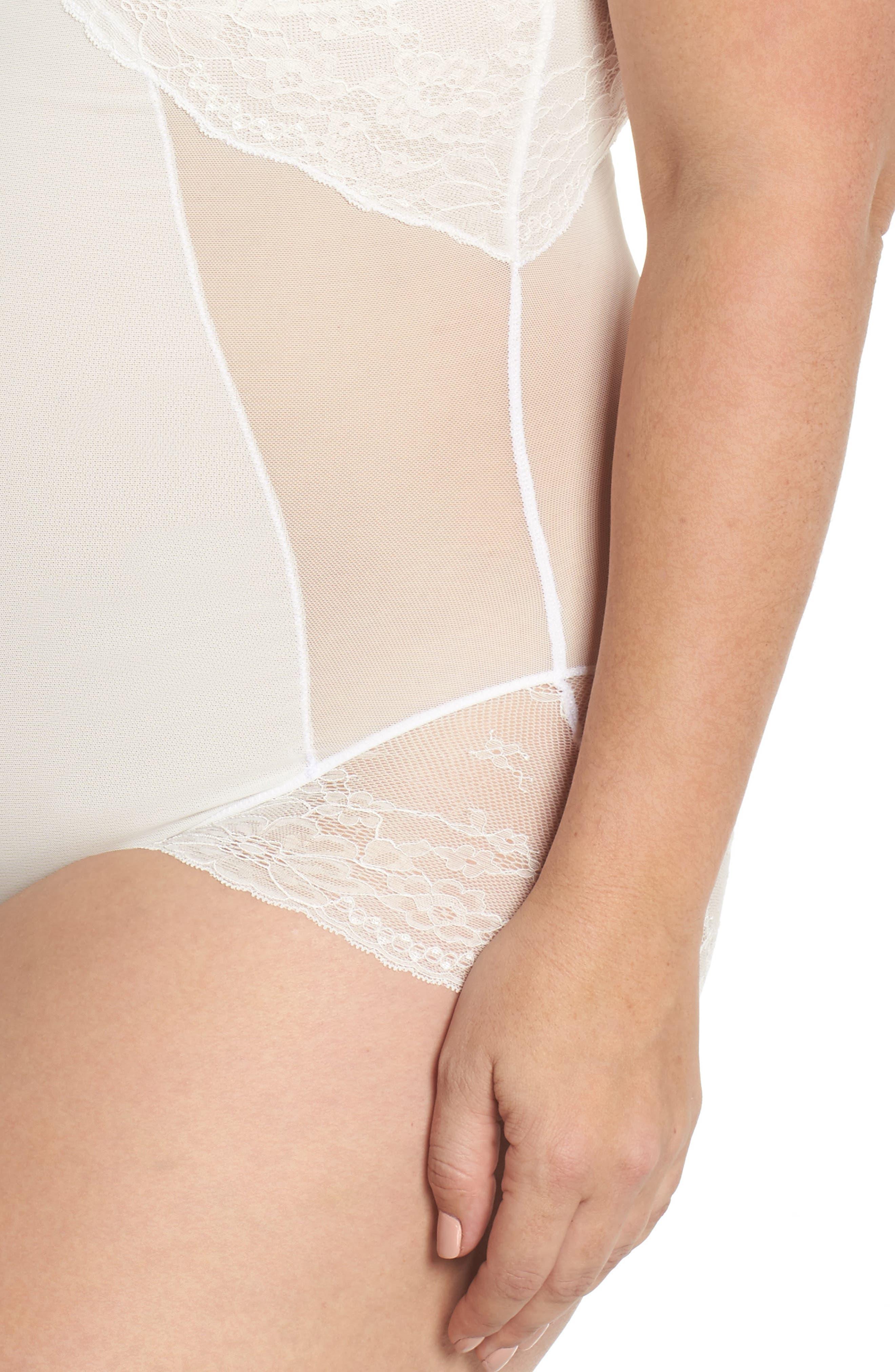 Spotlight On Lace Bodysuit,                             Alternate thumbnail 5, color,                             CLEAN WHITE