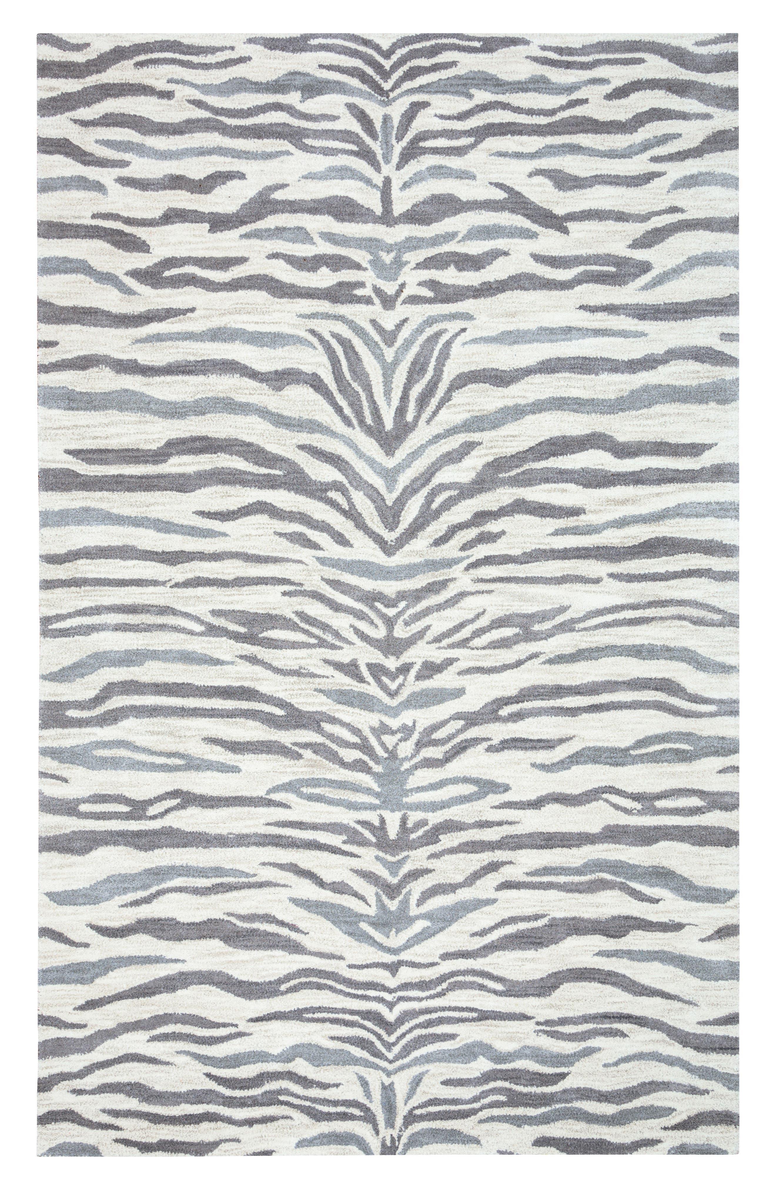 'Valintino Zebra' Hand Tufted Wool Area Rug,                         Main,                         color, 020
