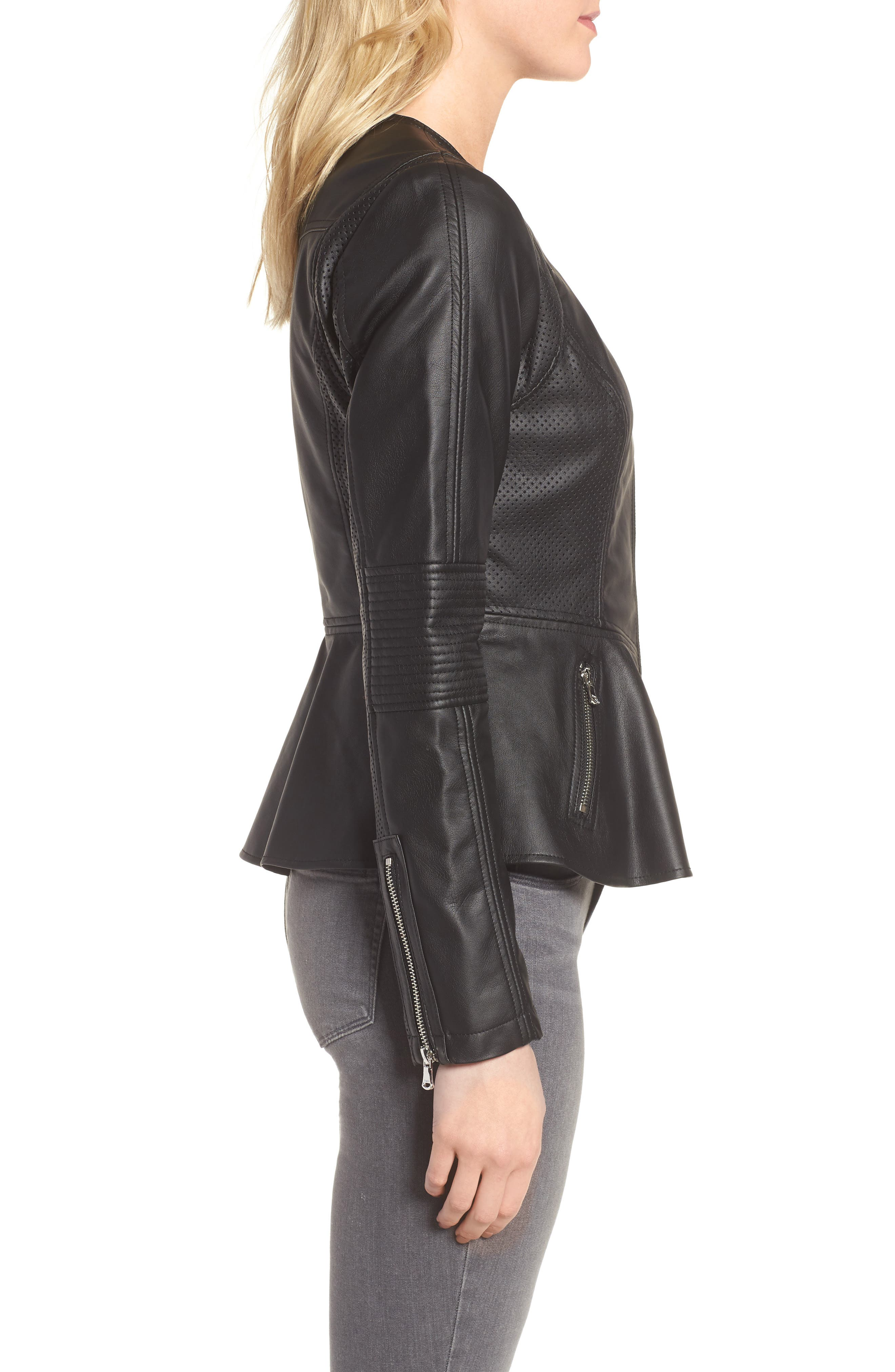 Perforated Peplum Hem Faux Leather Jacket,                             Alternate thumbnail 3, color,                             001