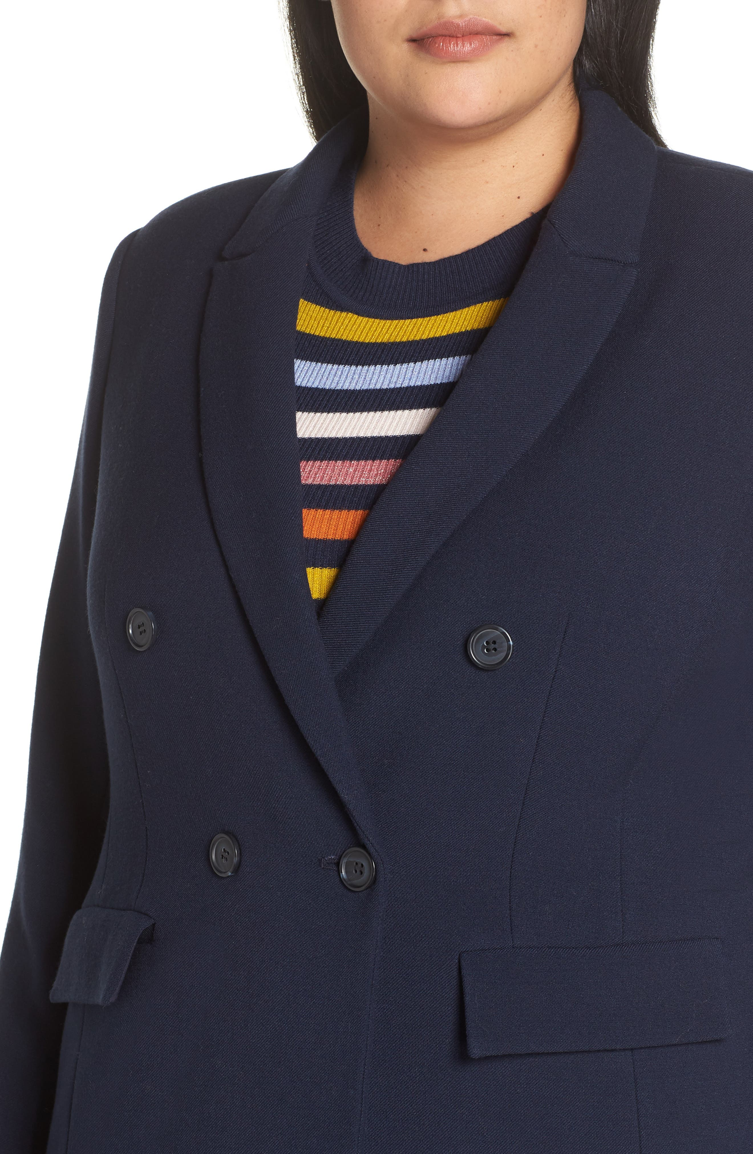 x Atlantic-Pacific Menswear Double Breasted Blazer,                             Alternate thumbnail 4, color,                             NAVY