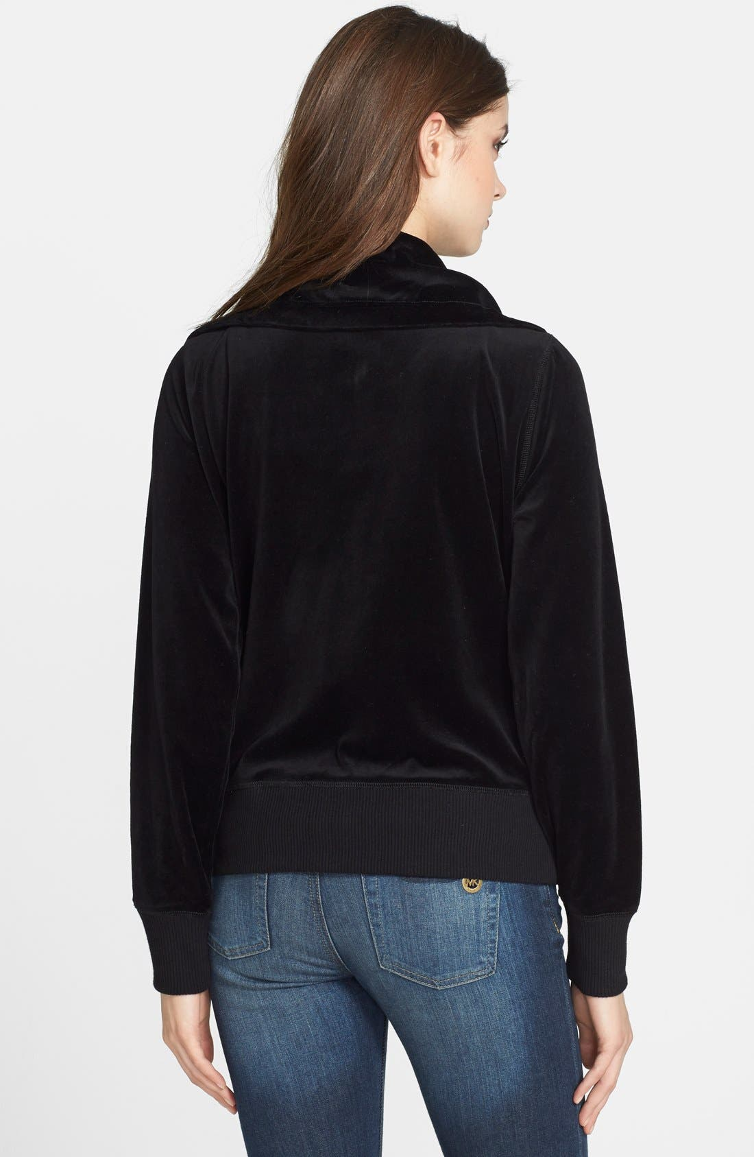 Front Zip Velour Jacket,                             Alternate thumbnail 3, color,                             002