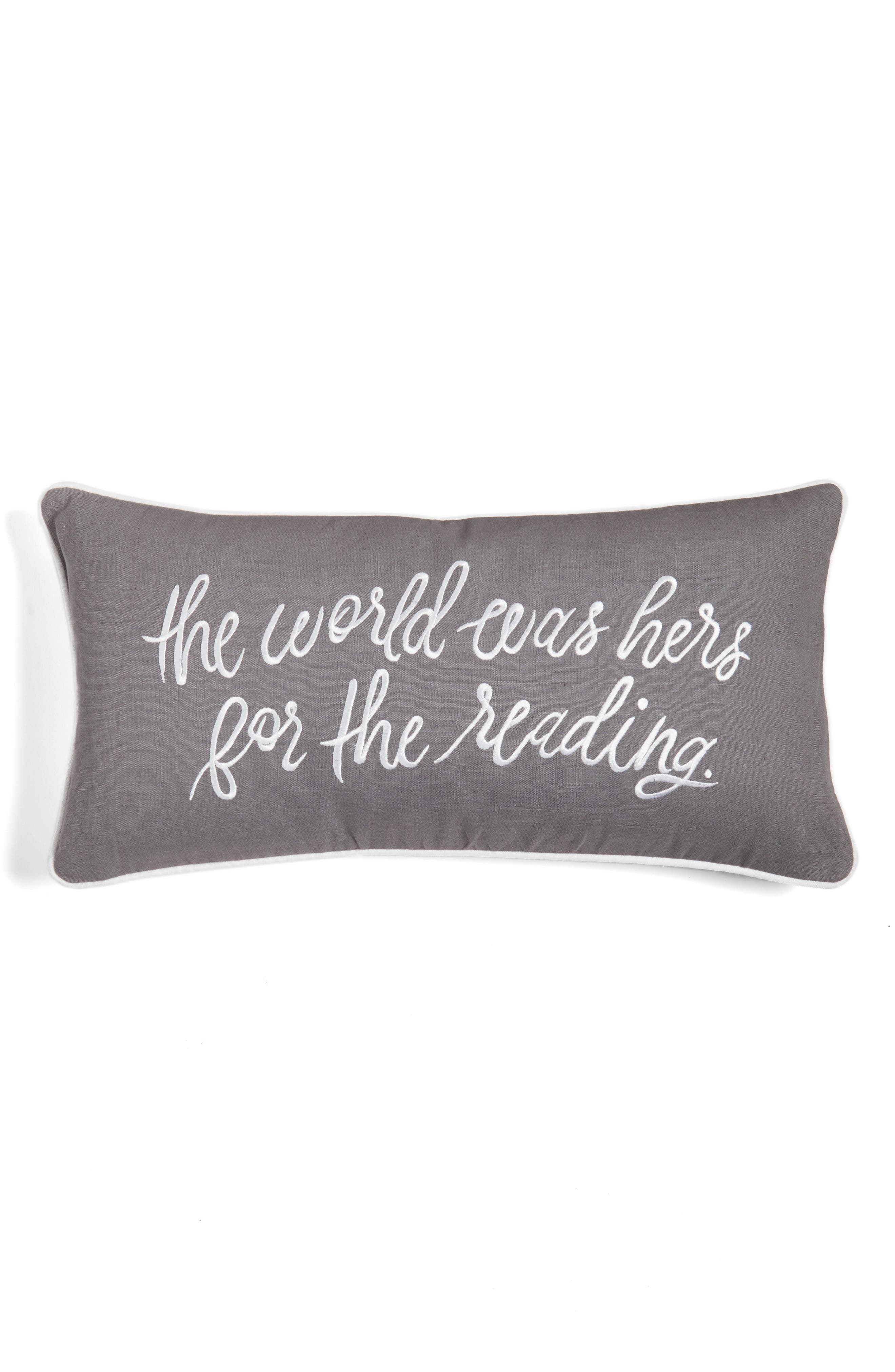 the world was hers accent pillow,                             Main thumbnail 1, color,                             CHARCOAL