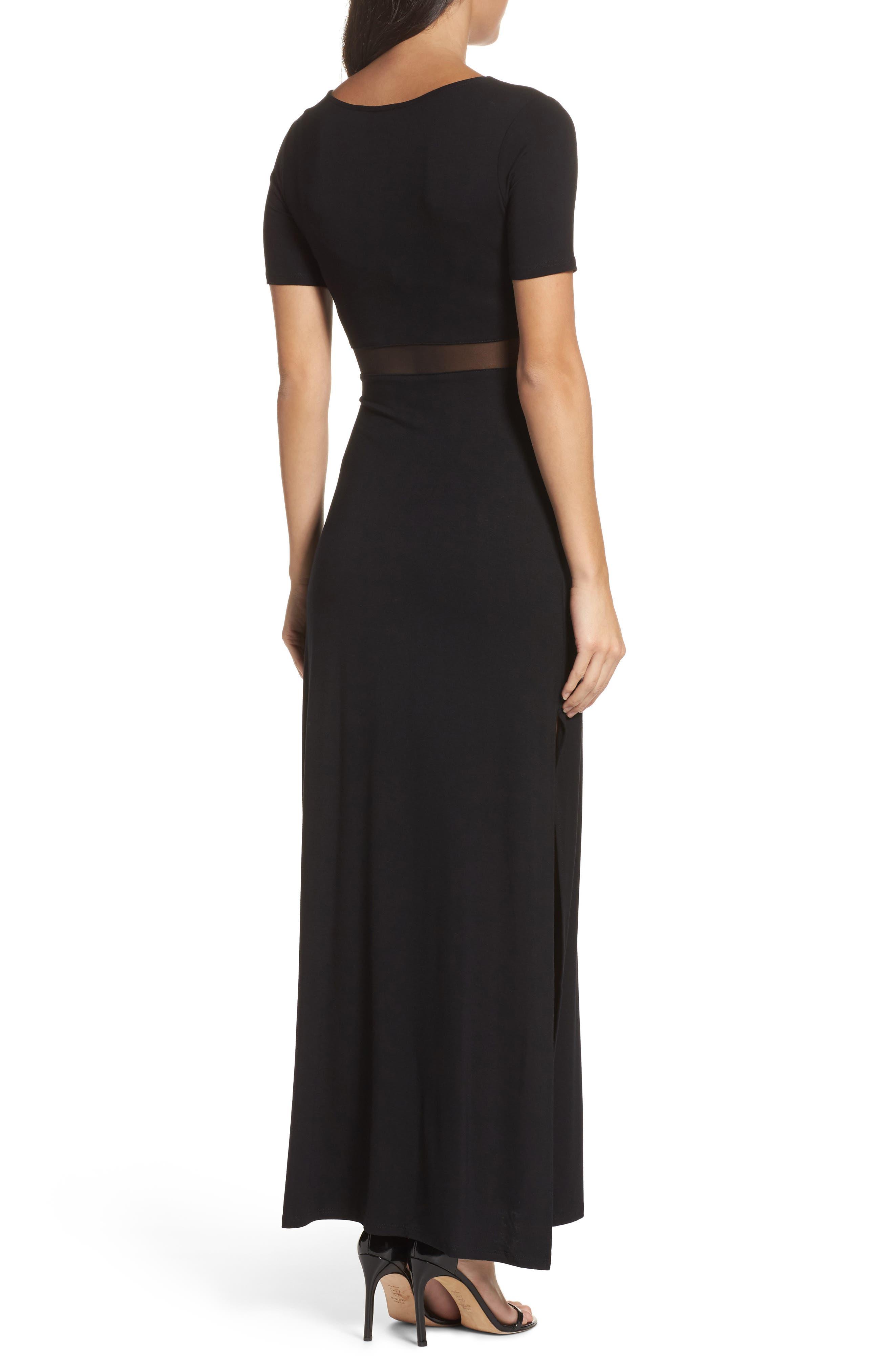 Mesh Inset Maxi Dress,                             Alternate thumbnail 2, color,                             010