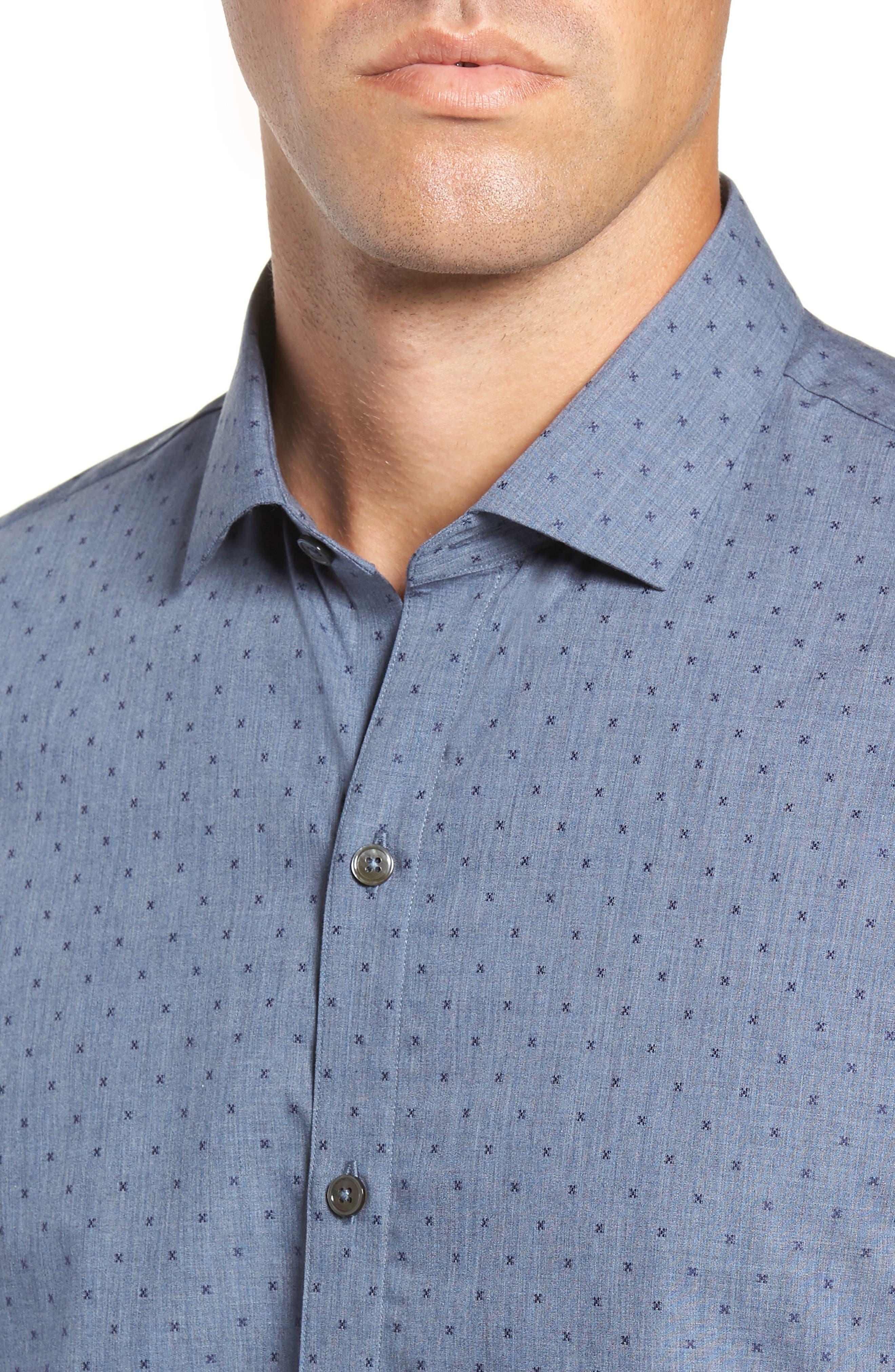 Huang Regular Fit Dobby Sport Shirt,                             Alternate thumbnail 2, color,                             DENIM