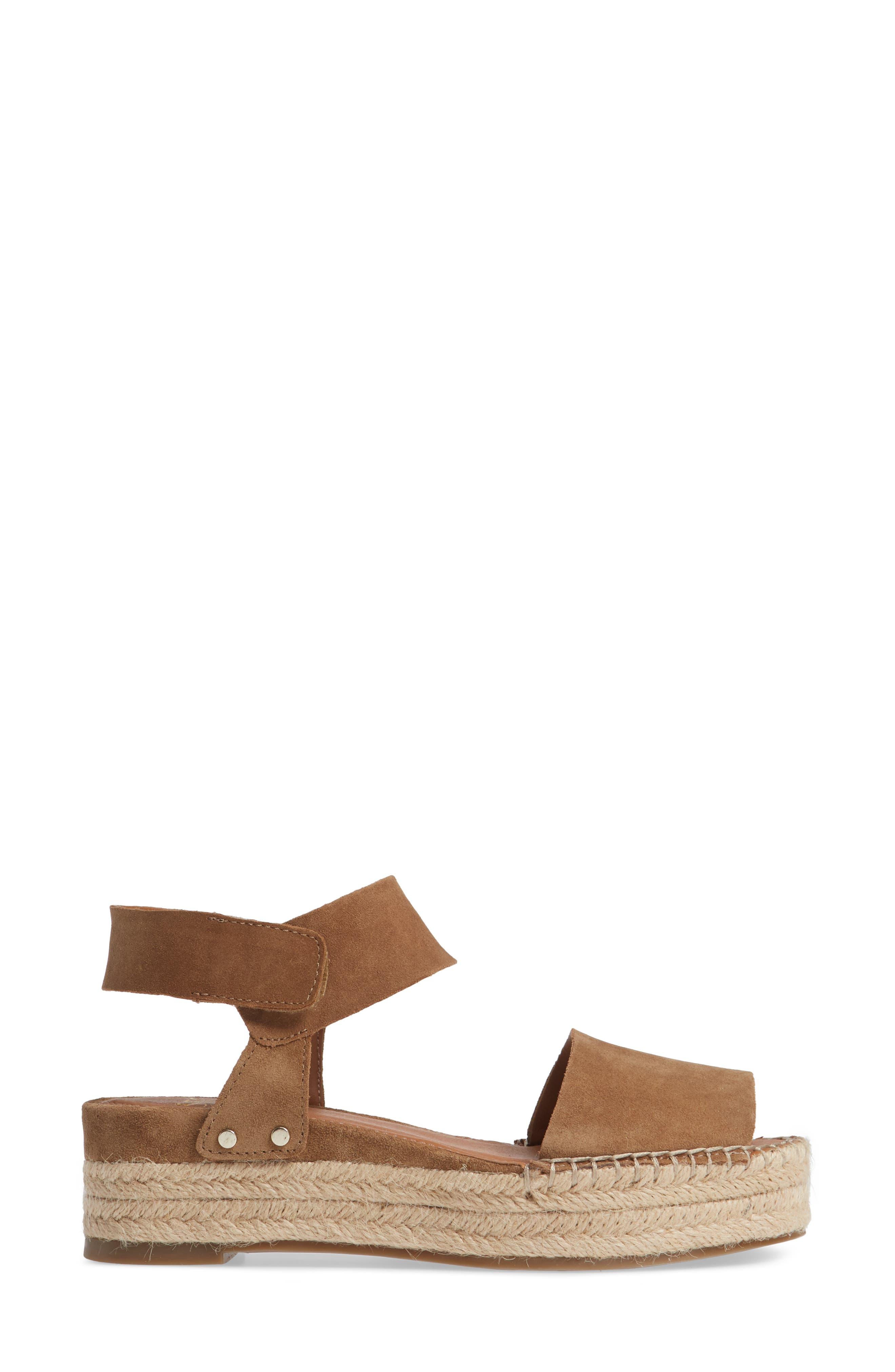 Oak Platform Wedge Espadrille,                             Alternate thumbnail 3, color,                             TOASTED BARLEY SUEDE