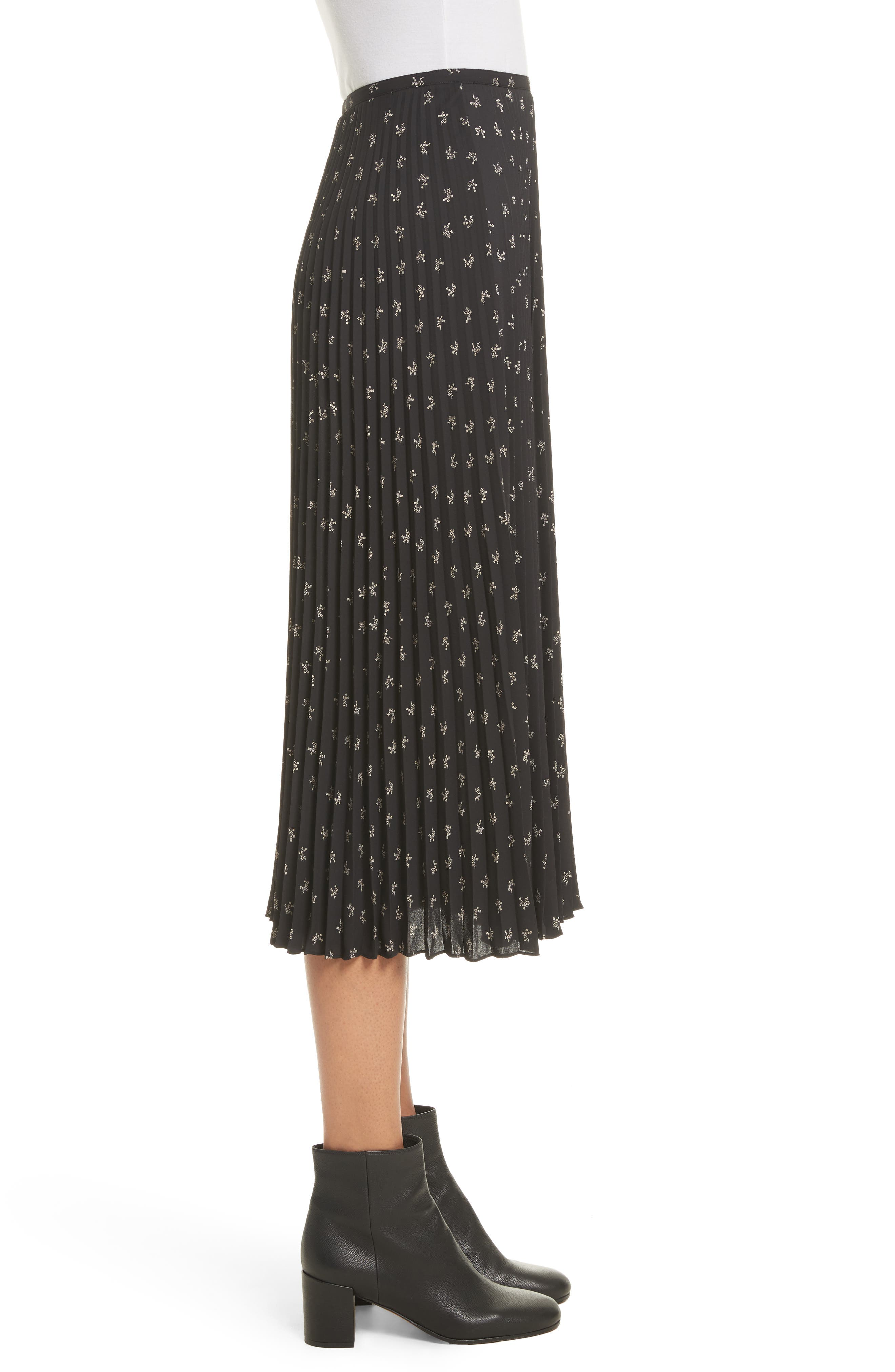 Tossed Ditsy Floral Pleated Skirt,                             Alternate thumbnail 3, color,                             008