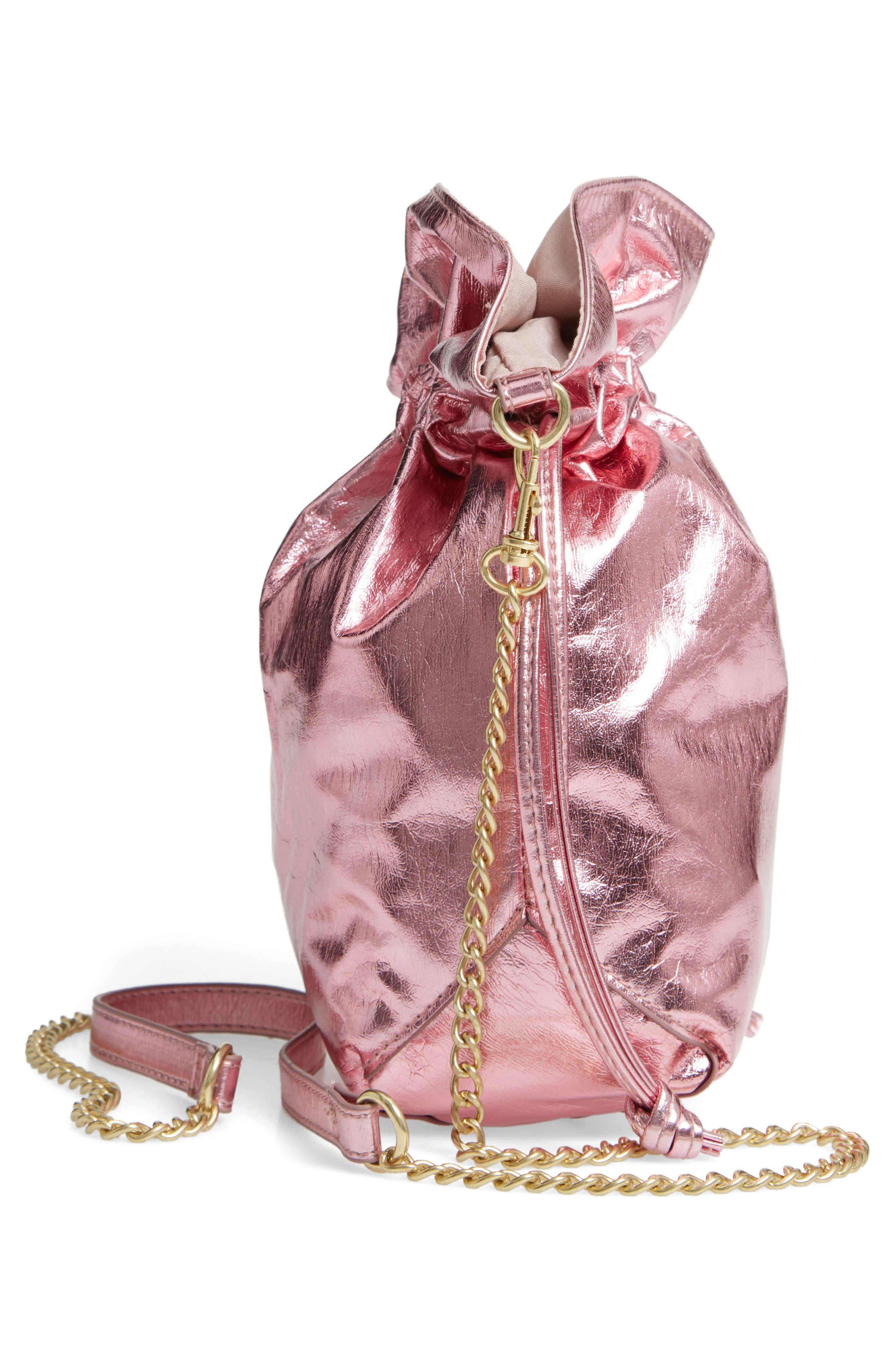 Mini Slouch Drawstring Bag,                             Alternate thumbnail 5, color,                             PINK METALLIC