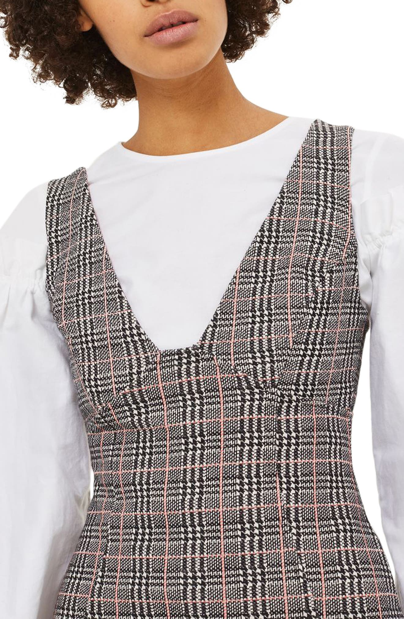 Plaid A-Line Pinafore Dress,                             Alternate thumbnail 3, color,                             001