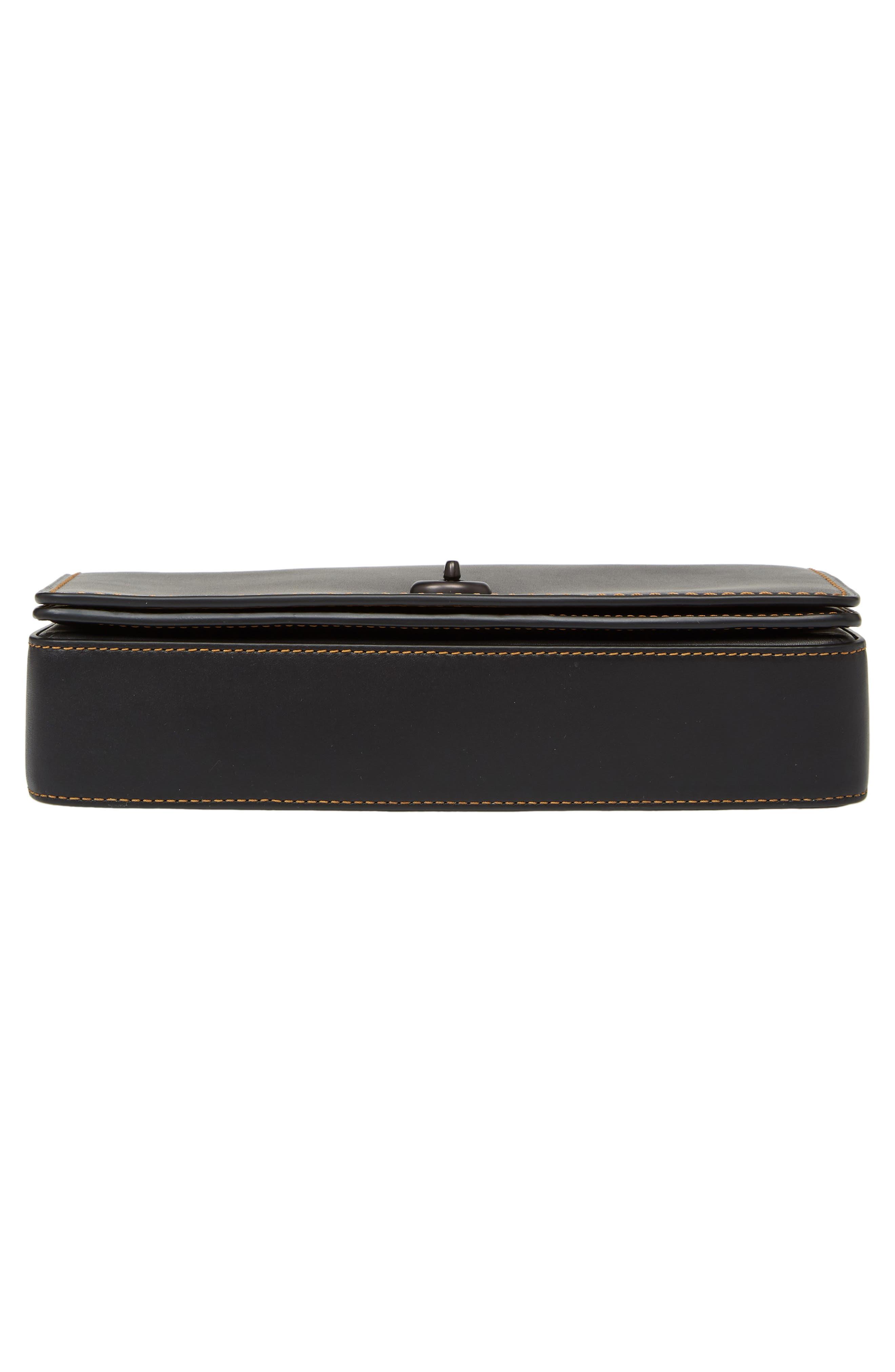 Dinky Crossbody Leather Bag,                             Alternate thumbnail 6, color,                             BLACK HONEY
