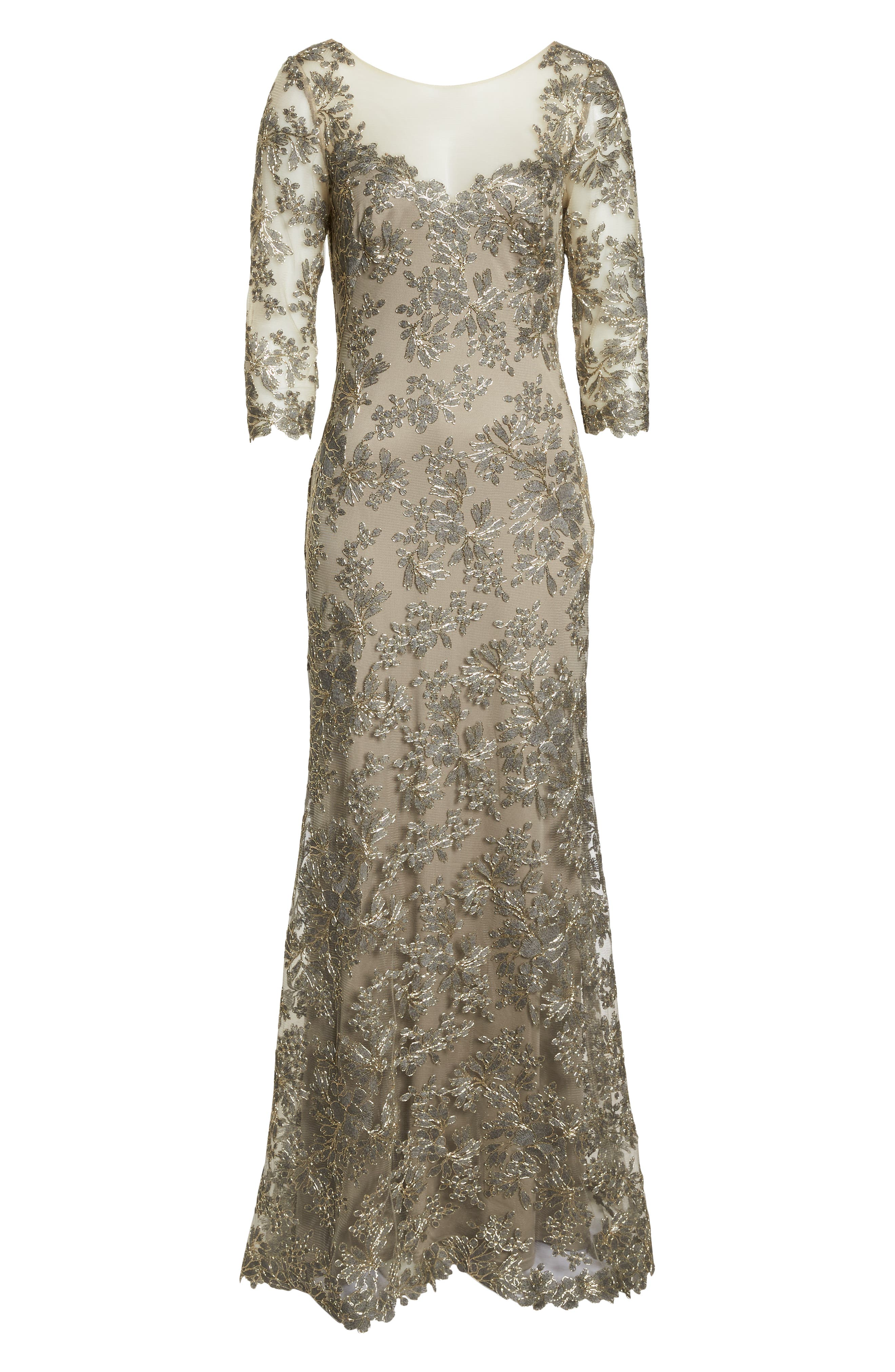 TADASHI SHOJI, Corded Embroidered Lace Gown, Alternate thumbnail 7, color, SMOKE PEARL