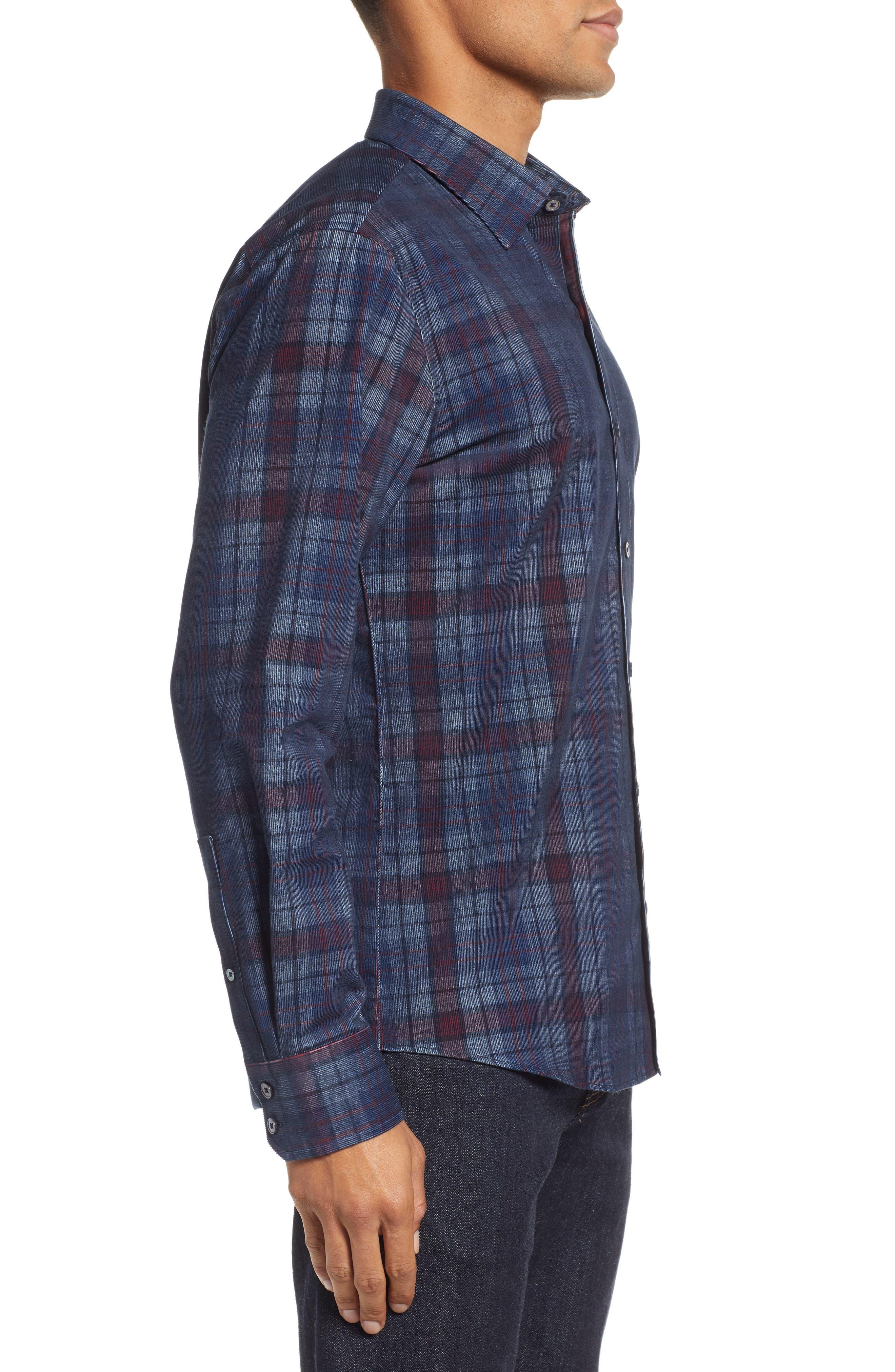 Lemke Regular Fit Corduroy Sport Shirt,                             Alternate thumbnail 4, color,                             NAVY