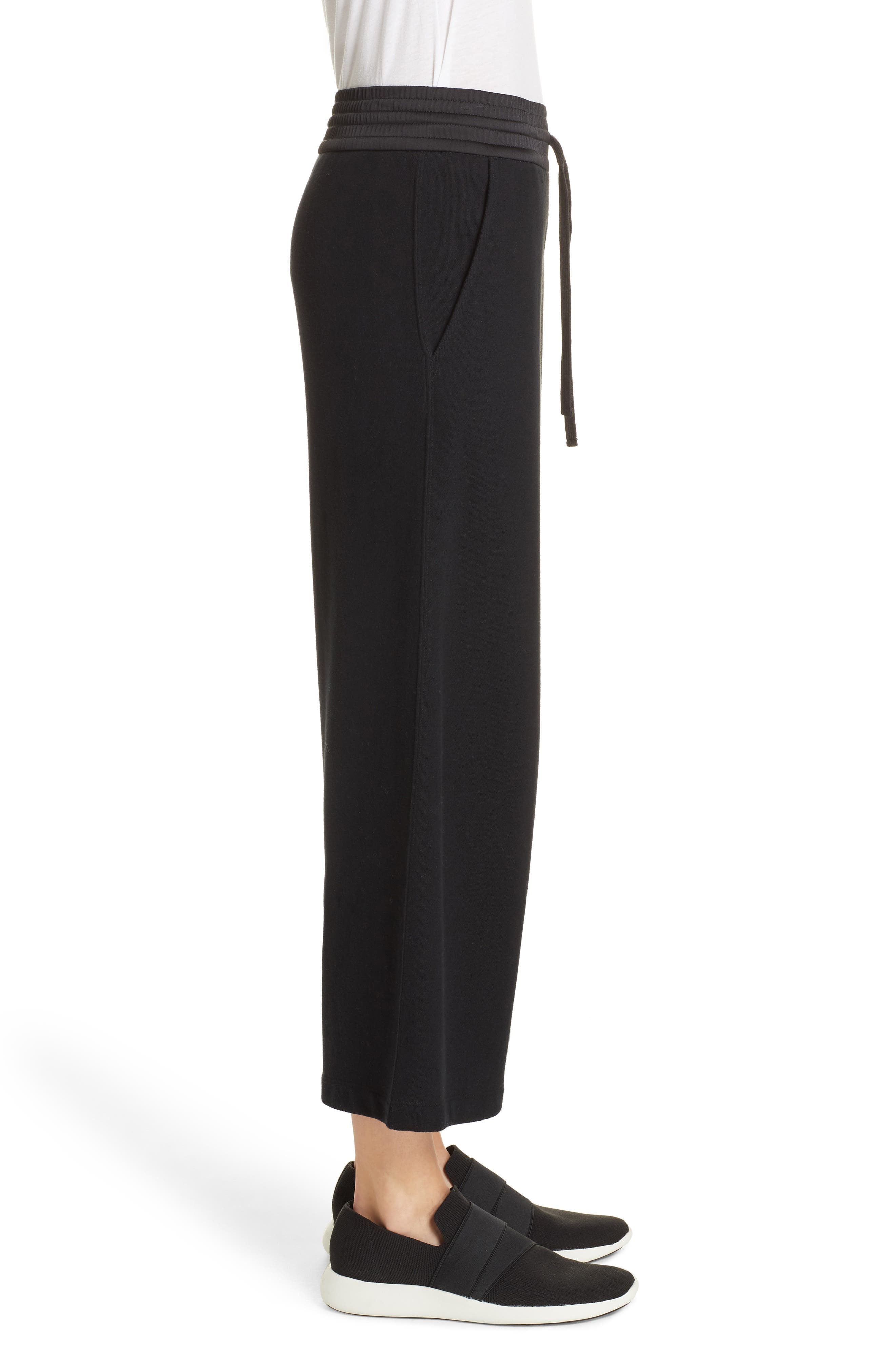Cotton Culottes,                             Alternate thumbnail 3, color,                             BLACK