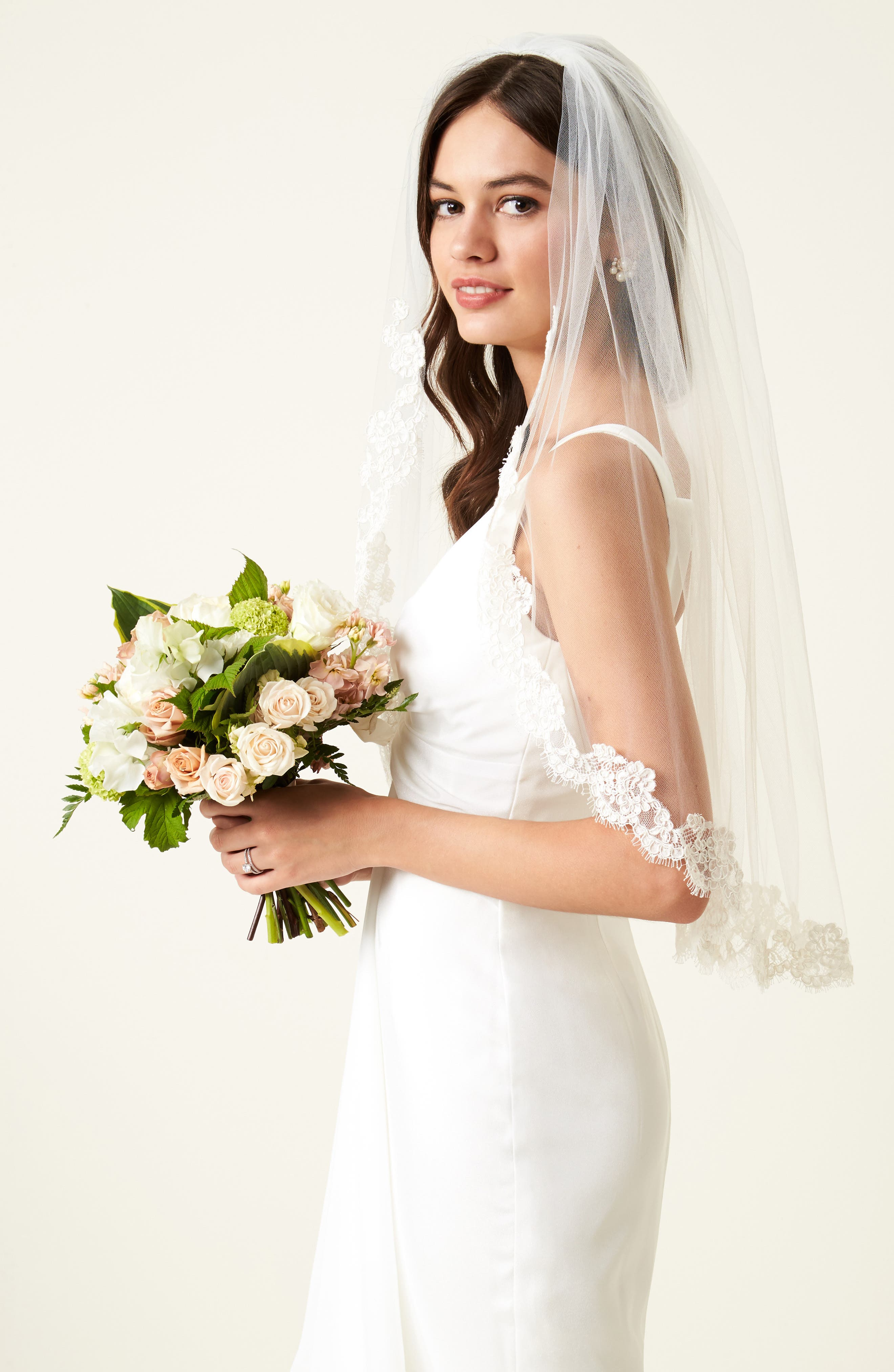 VEIL TRENDS,                             Poppy Lace Bridal Veil,                             Alternate thumbnail 2, color,                             900