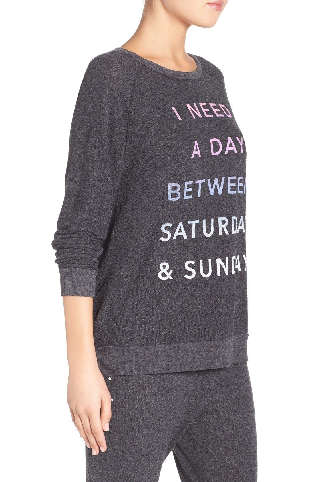 'Saturday & Sunday' Hacci Sweatshirt,                             Alternate thumbnail 6, color,                             019