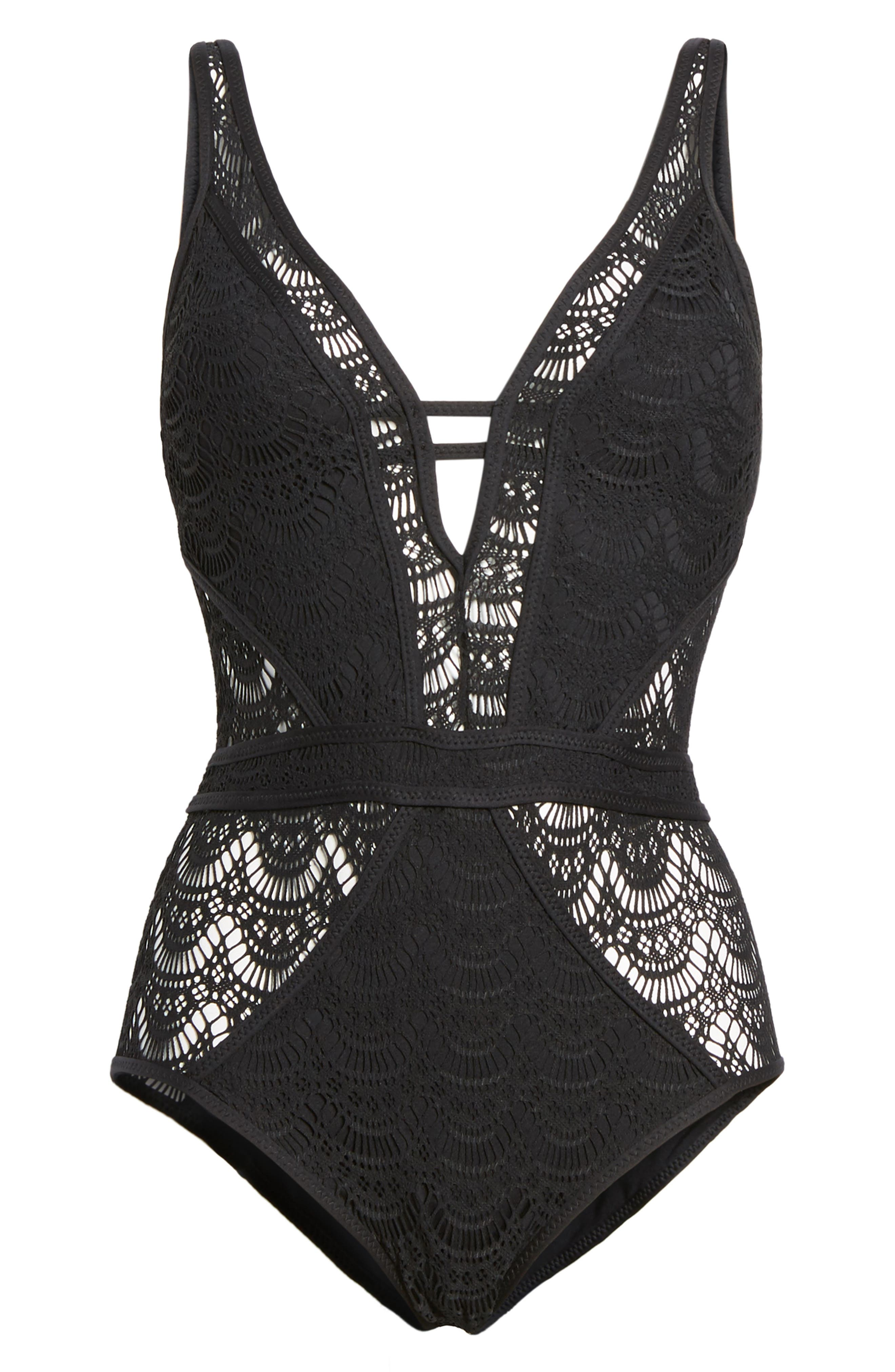 Show & Tell One-Piece Swimsuit,                             Alternate thumbnail 6, color,                             001