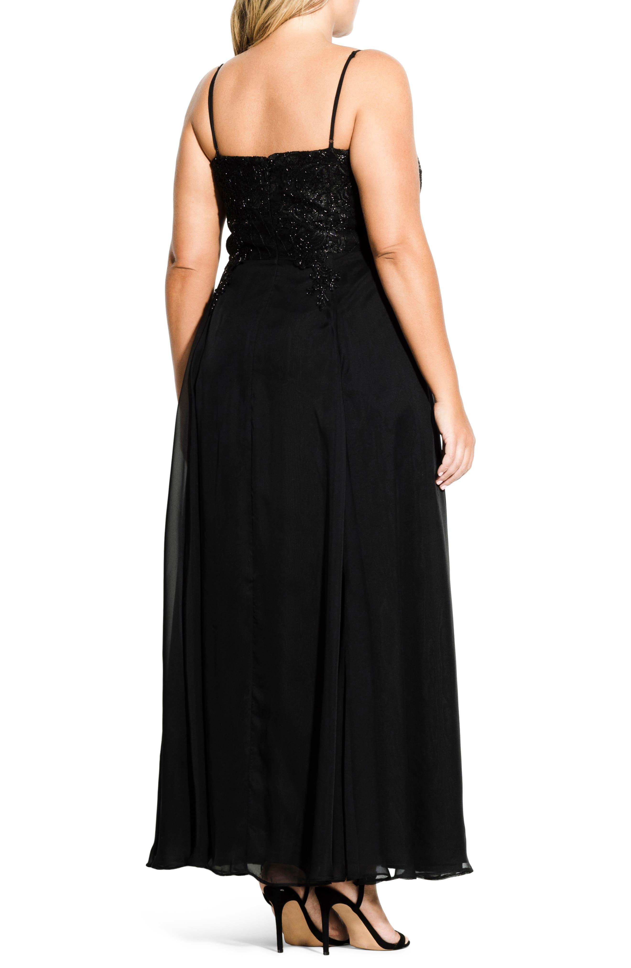 Divine Sequin Bodice Gown,                             Alternate thumbnail 2, color,                             BLACK