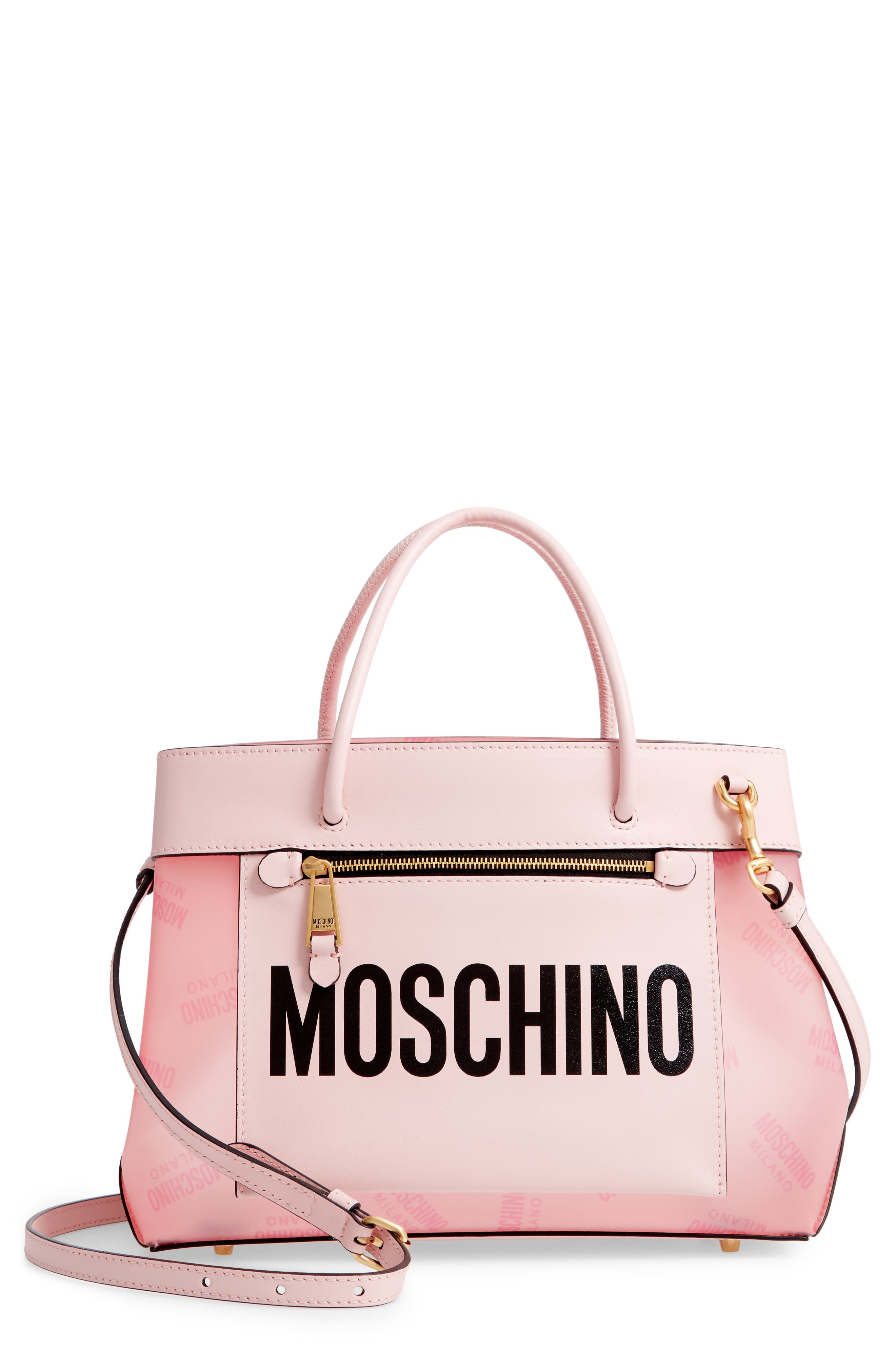 MOSCHINO Translucent Logo Tote, Main, color, PINK