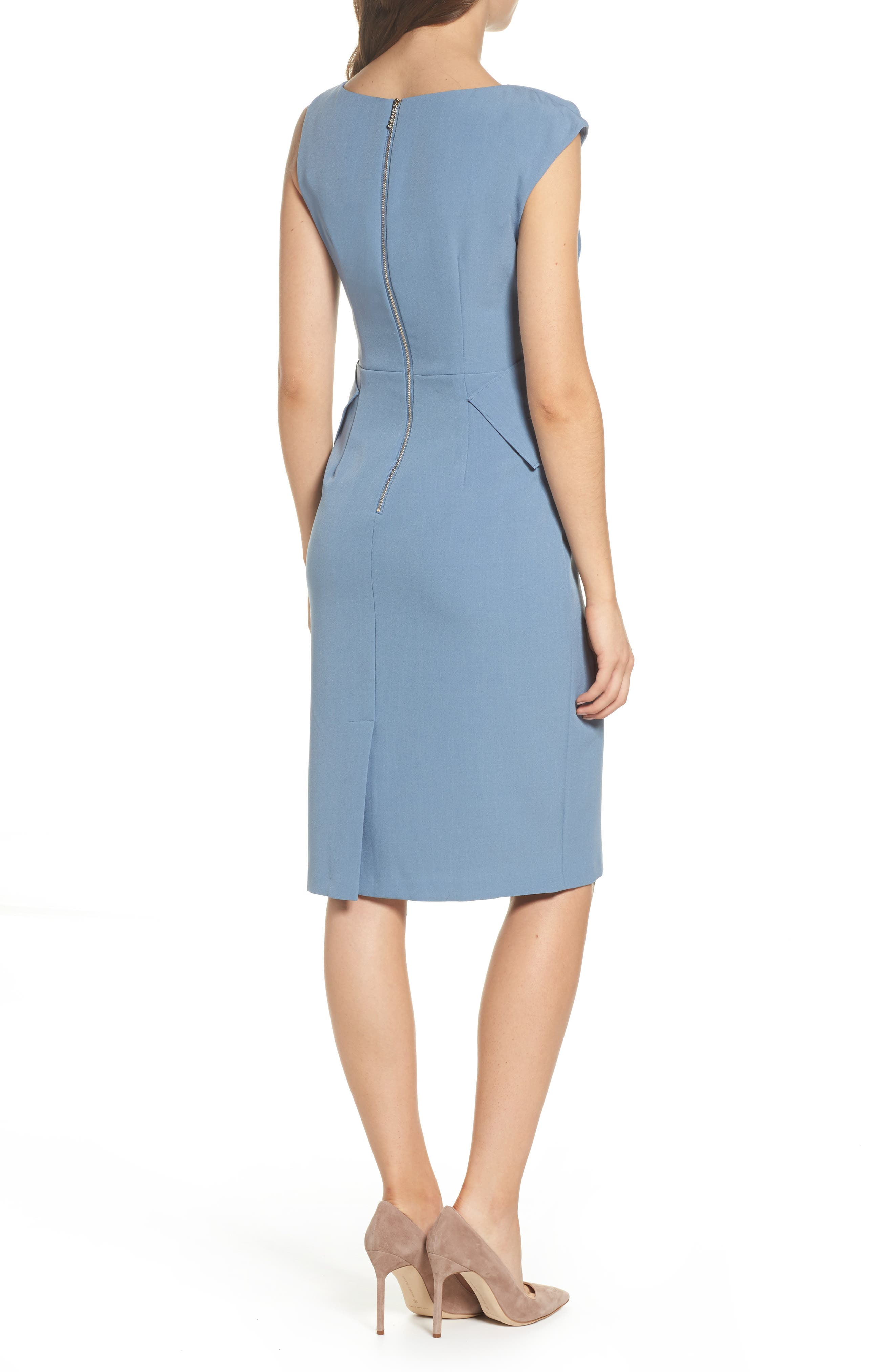 Crepe Sheath Dress,                             Alternate thumbnail 4, color,