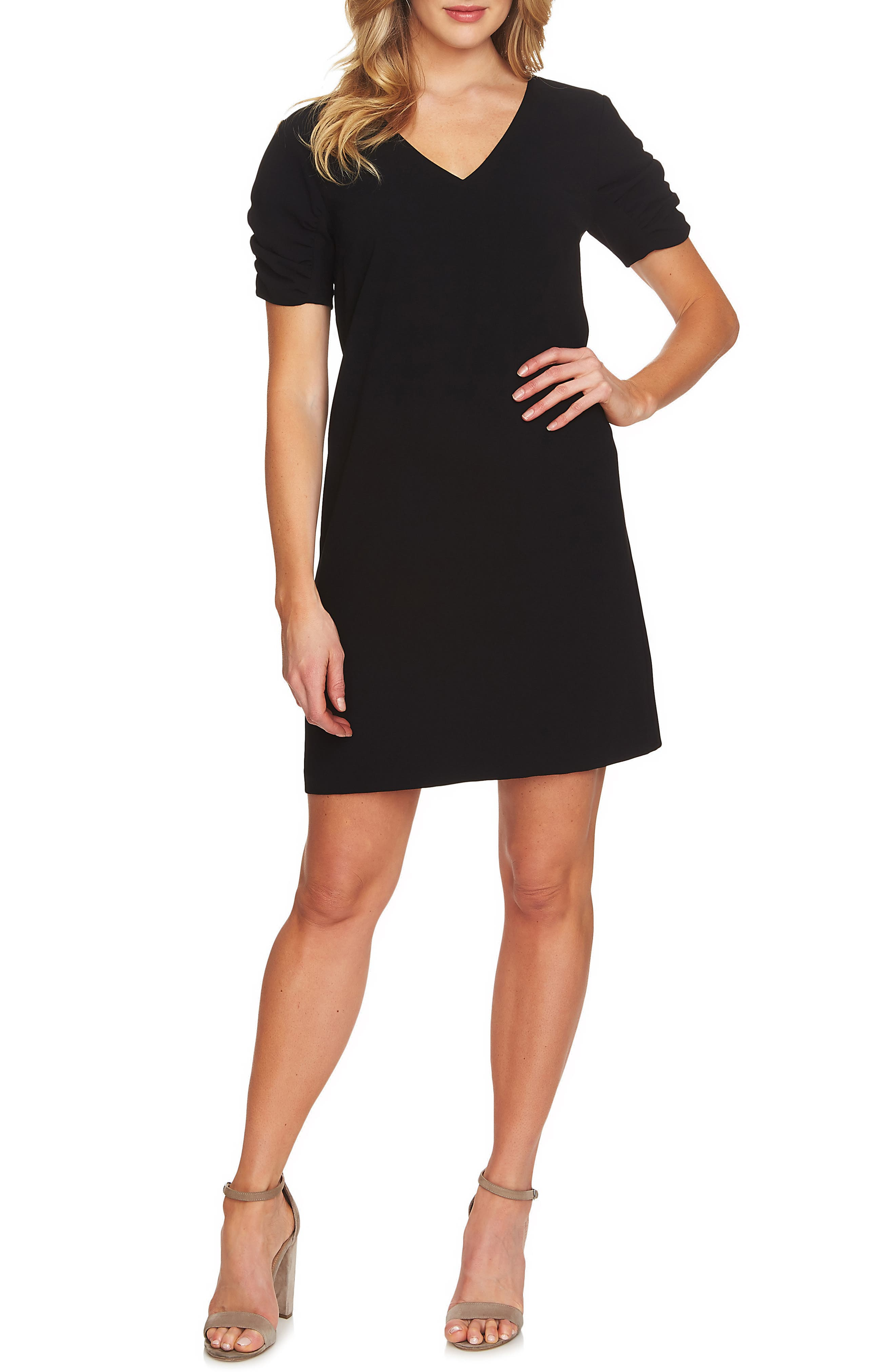 Puff Sleeve Shift Dress,                         Main,                         color, 001