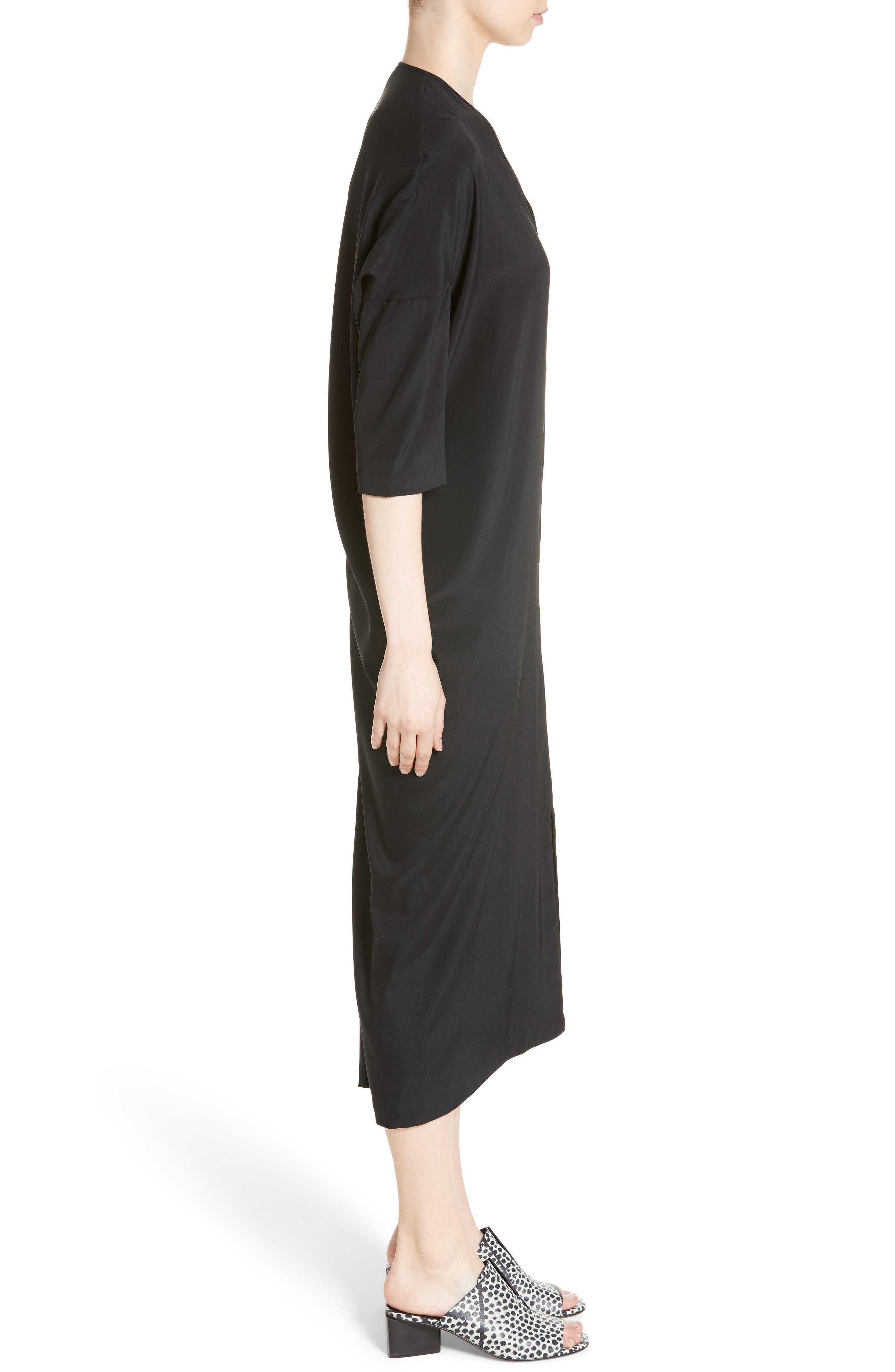 Koya Stretch Silk Charmeuse Dress,                             Alternate thumbnail 3, color,                             001