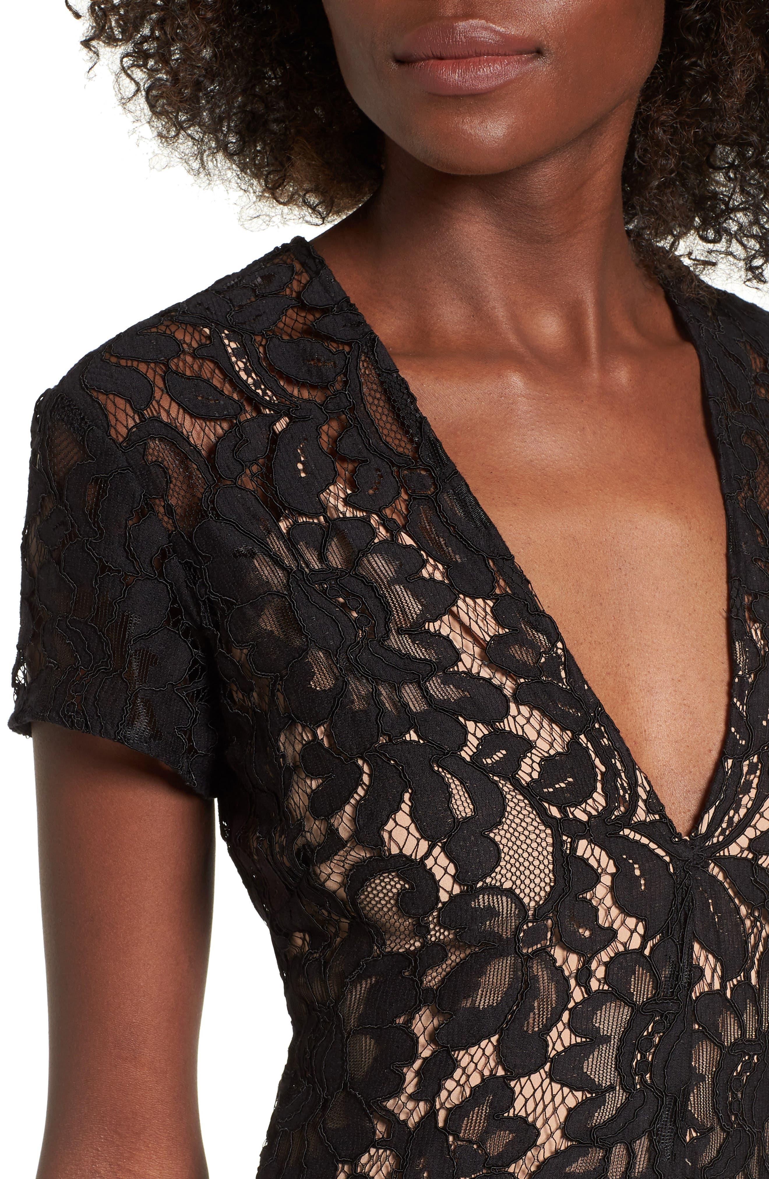 V-Neck Lace Maxi Dress,                             Alternate thumbnail 4, color,                             001