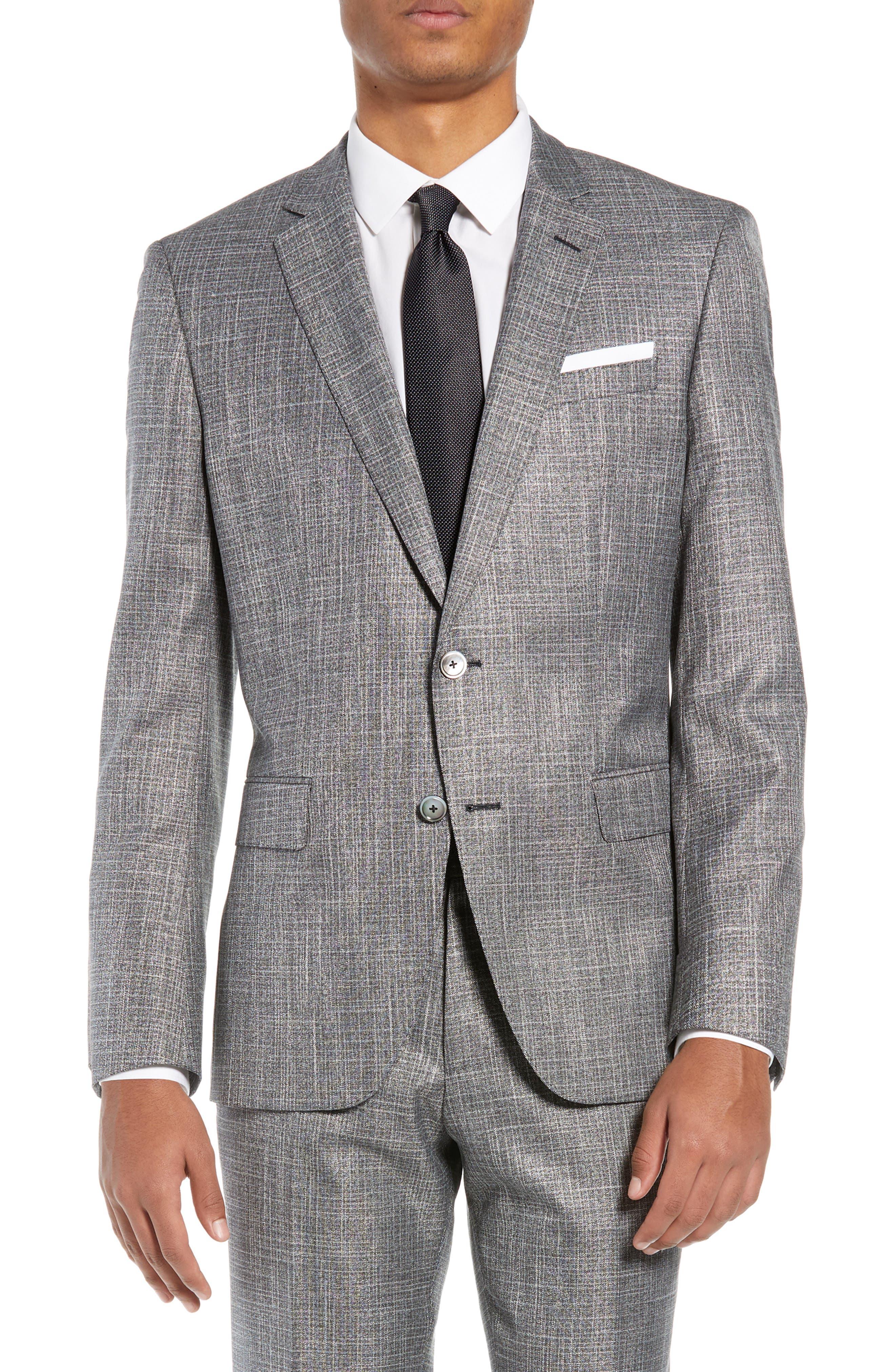 Hutson/Gander Trim Fit Solid Wool Blend Suit,                             Alternate thumbnail 5, color,                             MEDIUM GREY