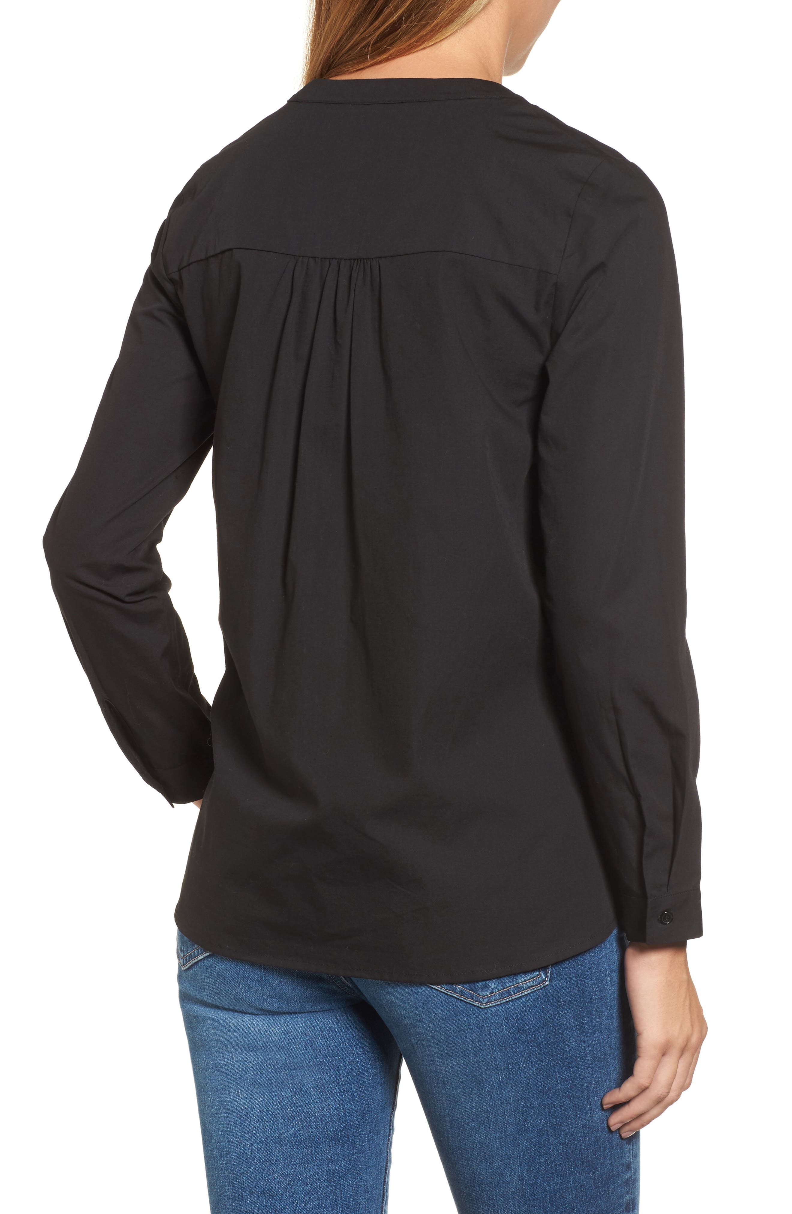 Cinched Front Peplum Top,                             Alternate thumbnail 2, color,                             001