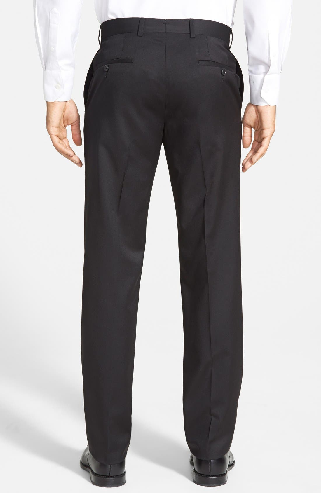 Flat Front Wool Trousers,                             Alternate thumbnail 4, color,                             001