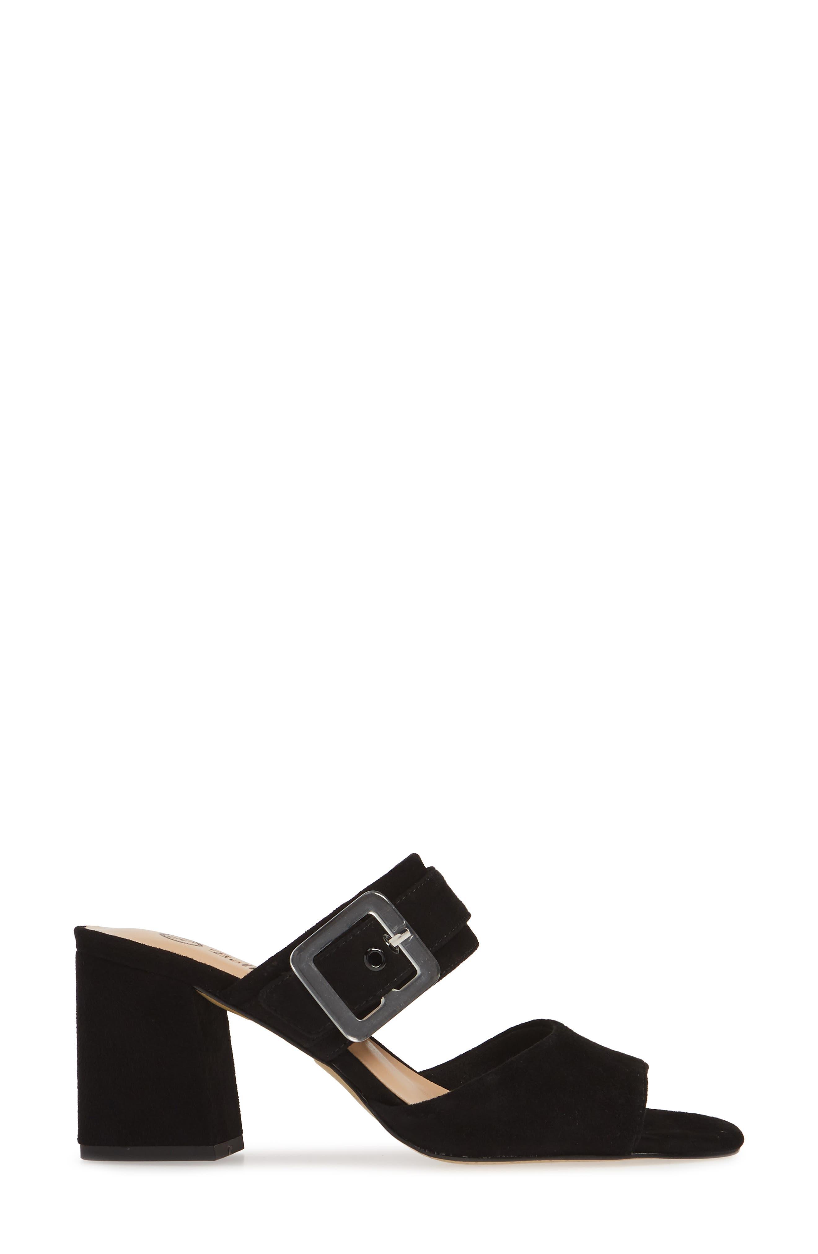 Tory Buckle Slide Sandal,                             Alternate thumbnail 3, color,                             BLACK SUEDE