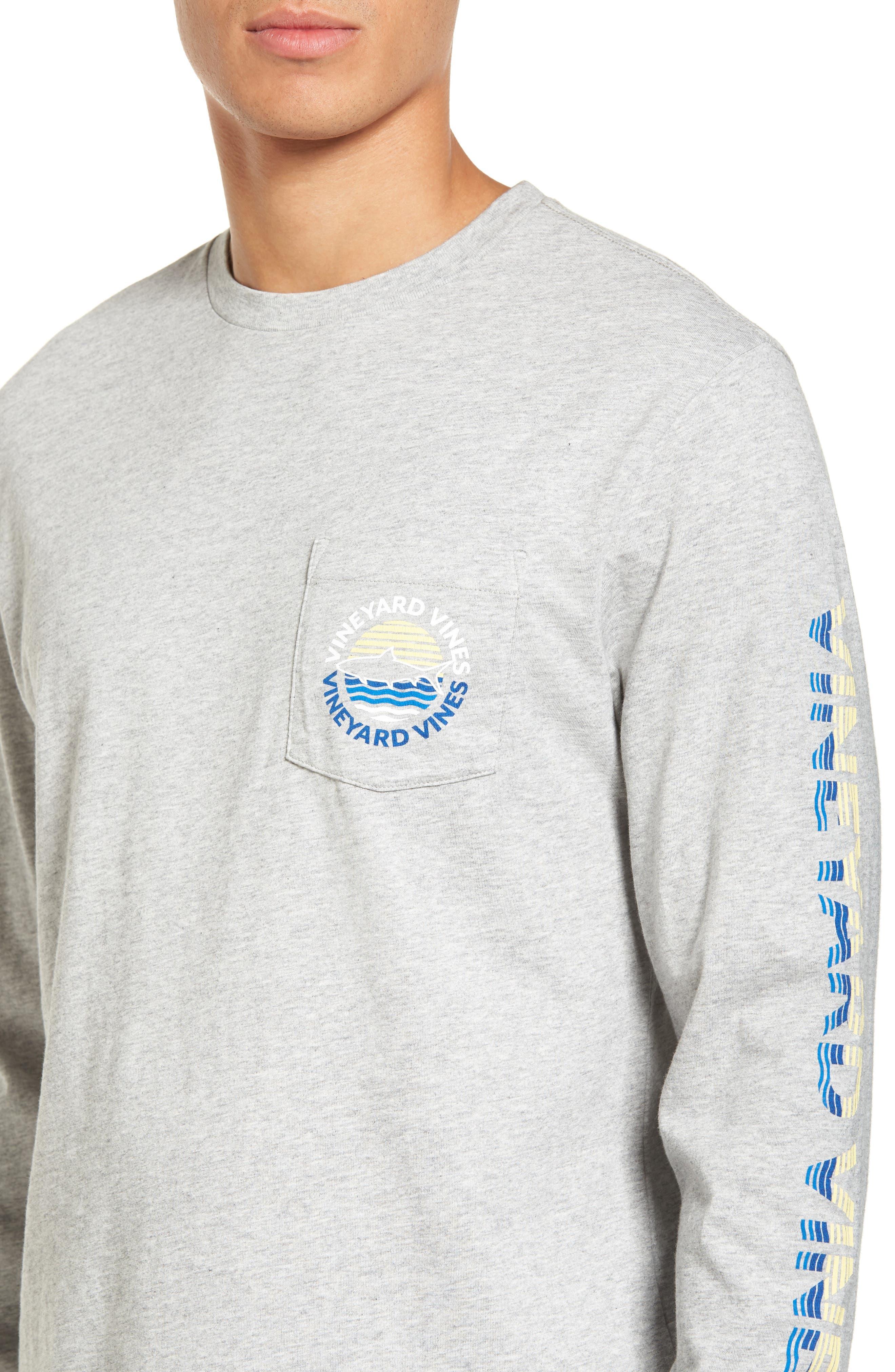 Fish Sunset Dot Pocket T-Shirt,                             Alternate thumbnail 4, color,                             039