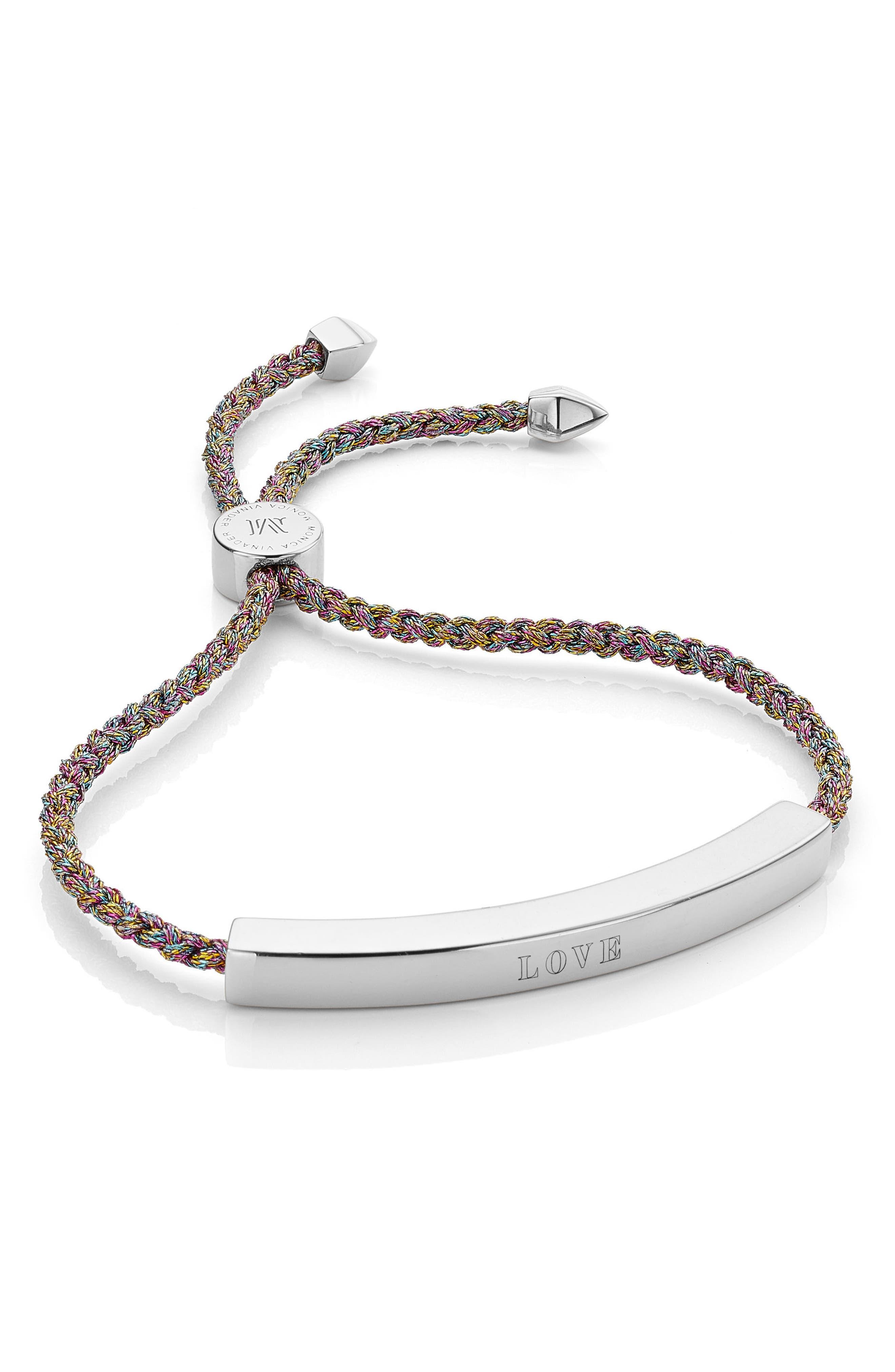 Engravable Large Linear Friendship Bracelet,                             Alternate thumbnail 2, color,                             RAINBOW METALLIC/ SILVER