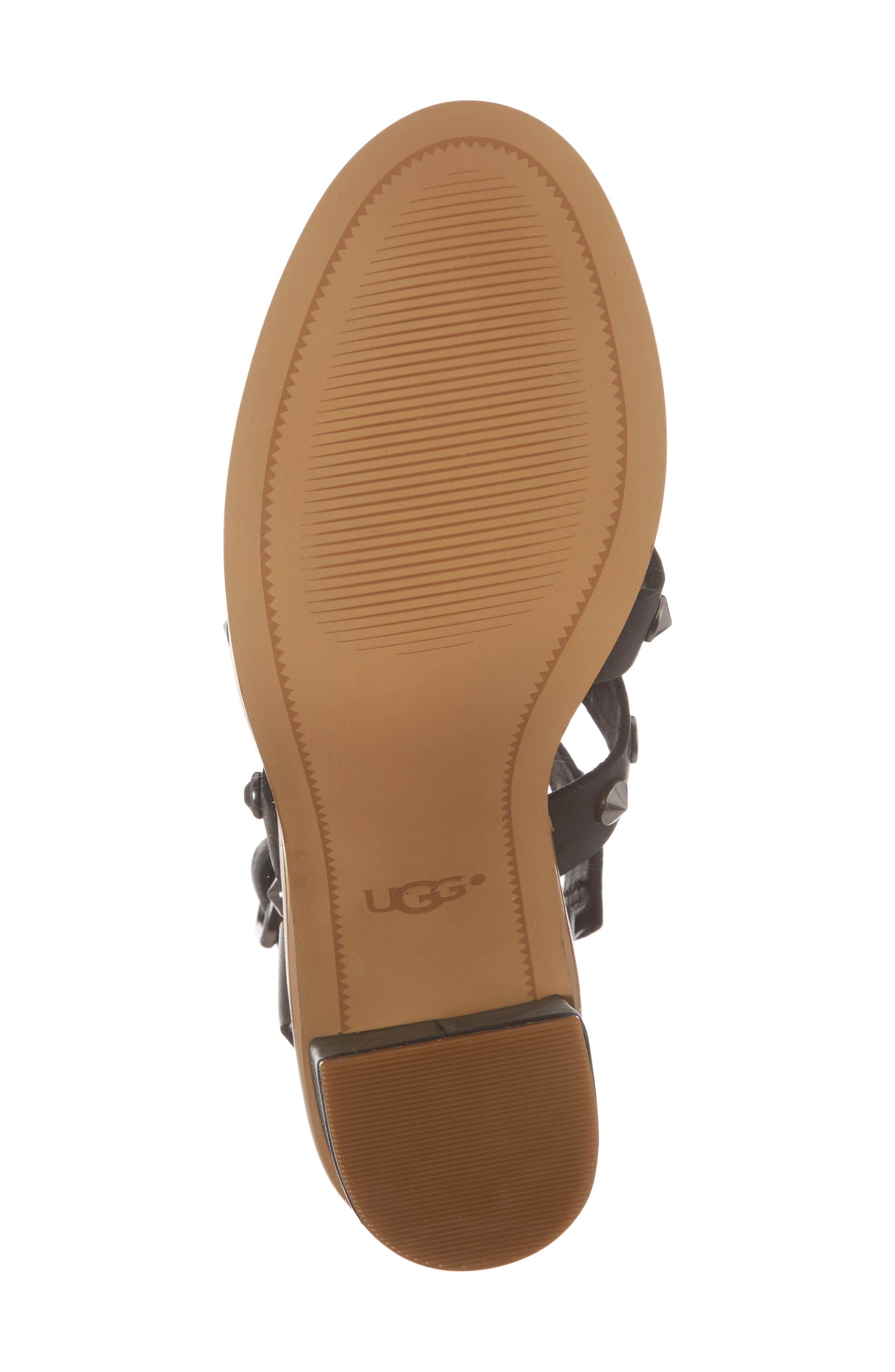 Macayla Studded Sandal,                             Alternate thumbnail 6, color,                             BLACK LEATHER