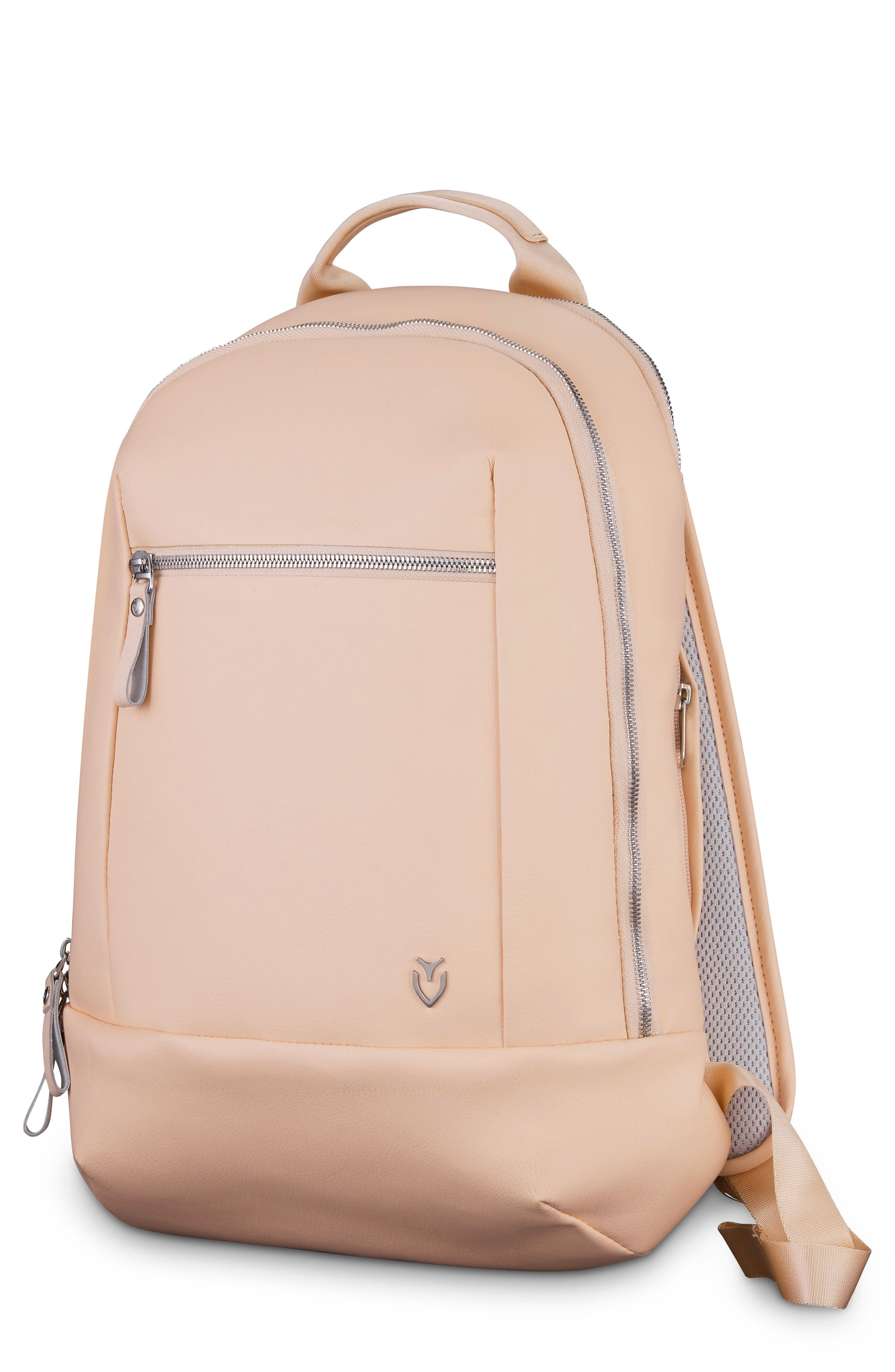 Mini Faux Leather Backpack,                             Main thumbnail 1, color,                             ROSE PINK