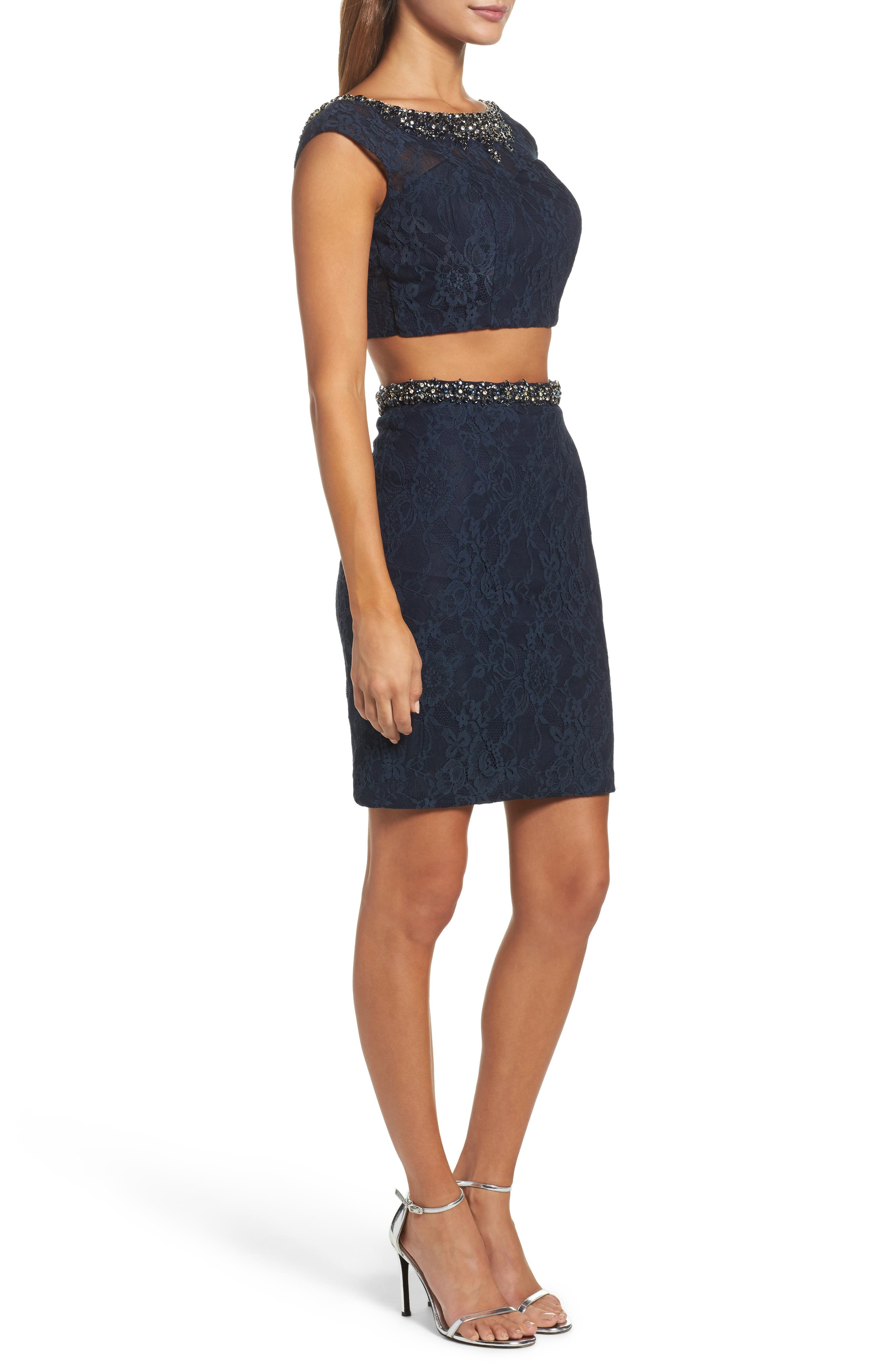 Embellished Two-Piece Lace Dress,                             Alternate thumbnail 3, color,                             410