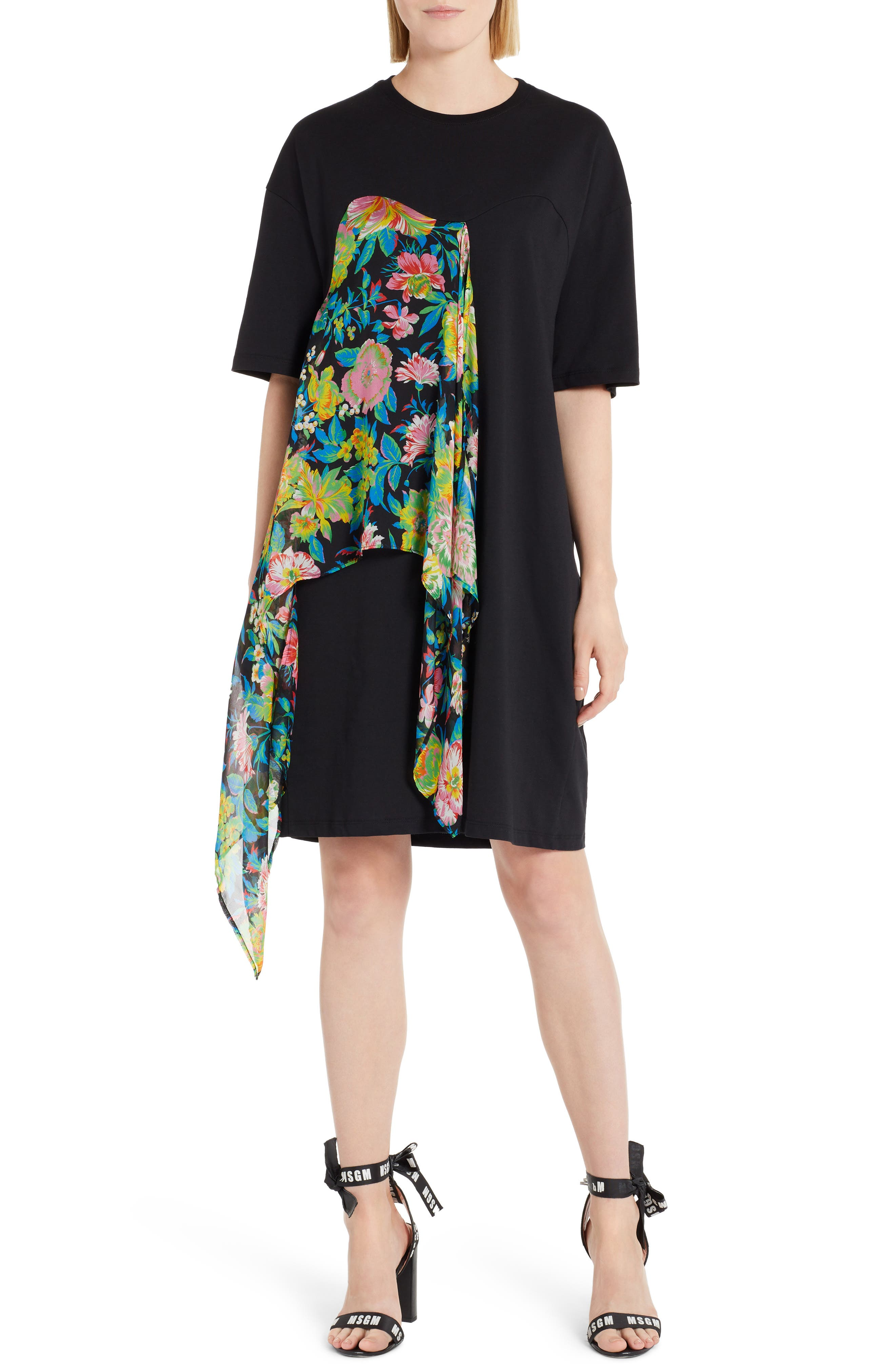 Chiffon Panel T-Shirt Dress,                             Main thumbnail 1, color,                             009