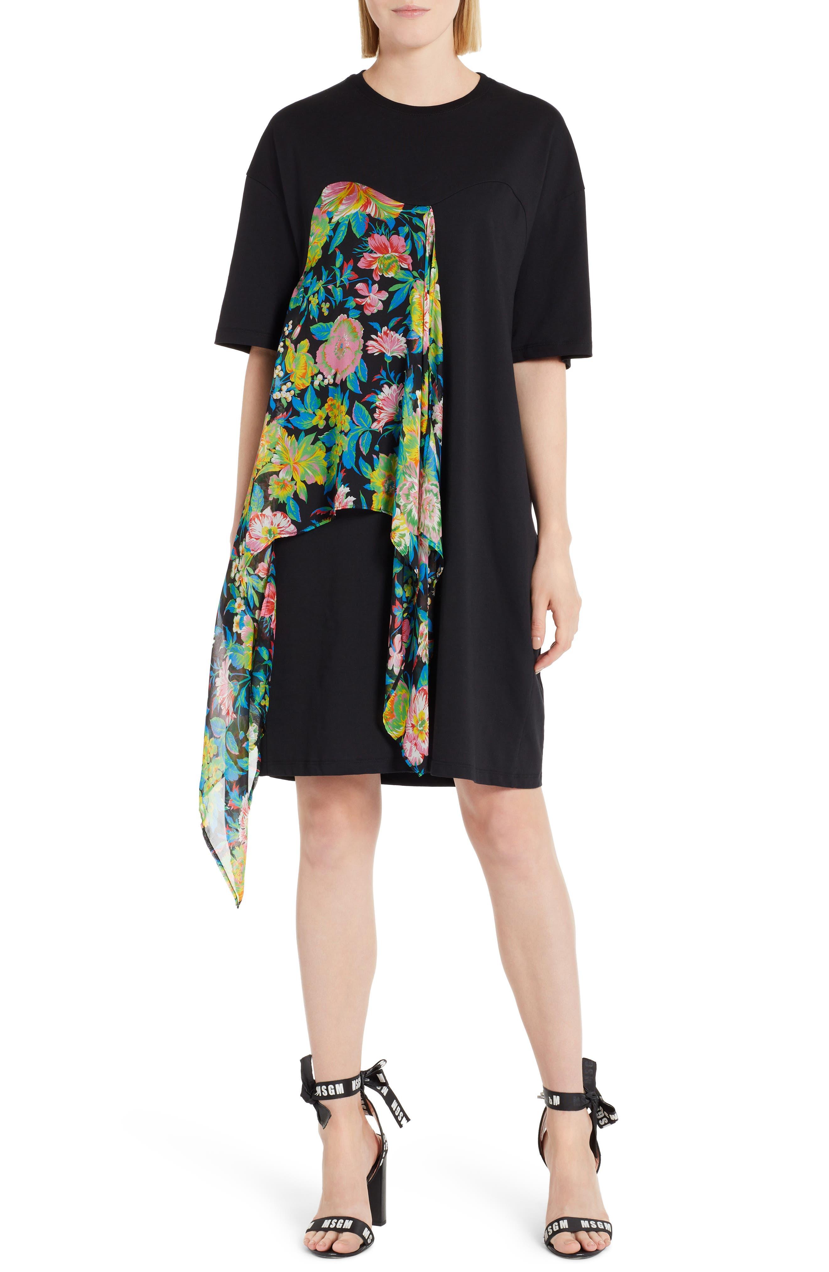 Chiffon Panel T-Shirt Dress,                         Main,                         color, 009