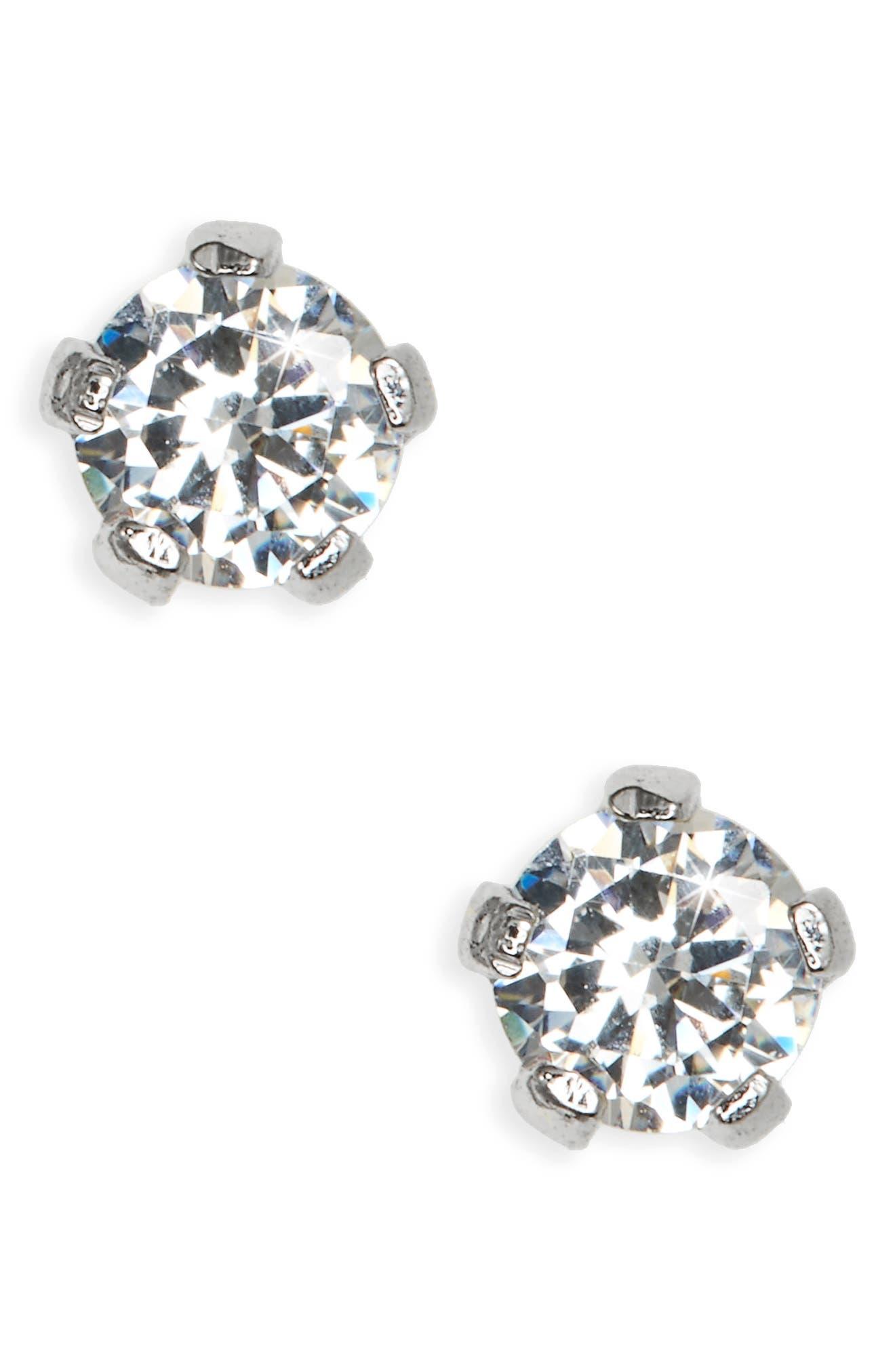 Sterling Silver 3mm Earrings,                             Alternate thumbnail 2, color,                             SILVER