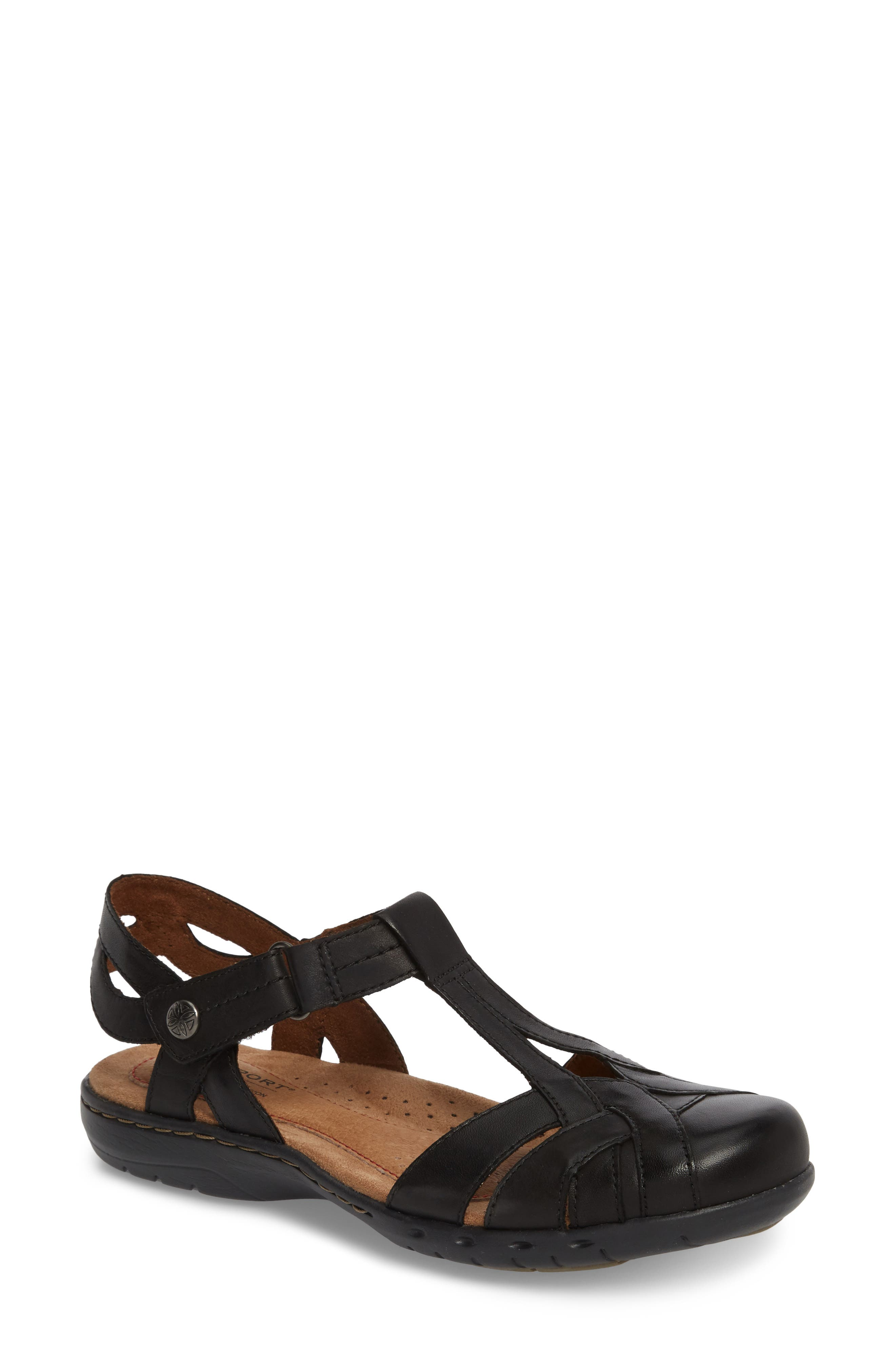 Penefield T-Strap Sandal,                         Main,                         color, BLACK LEATHER
