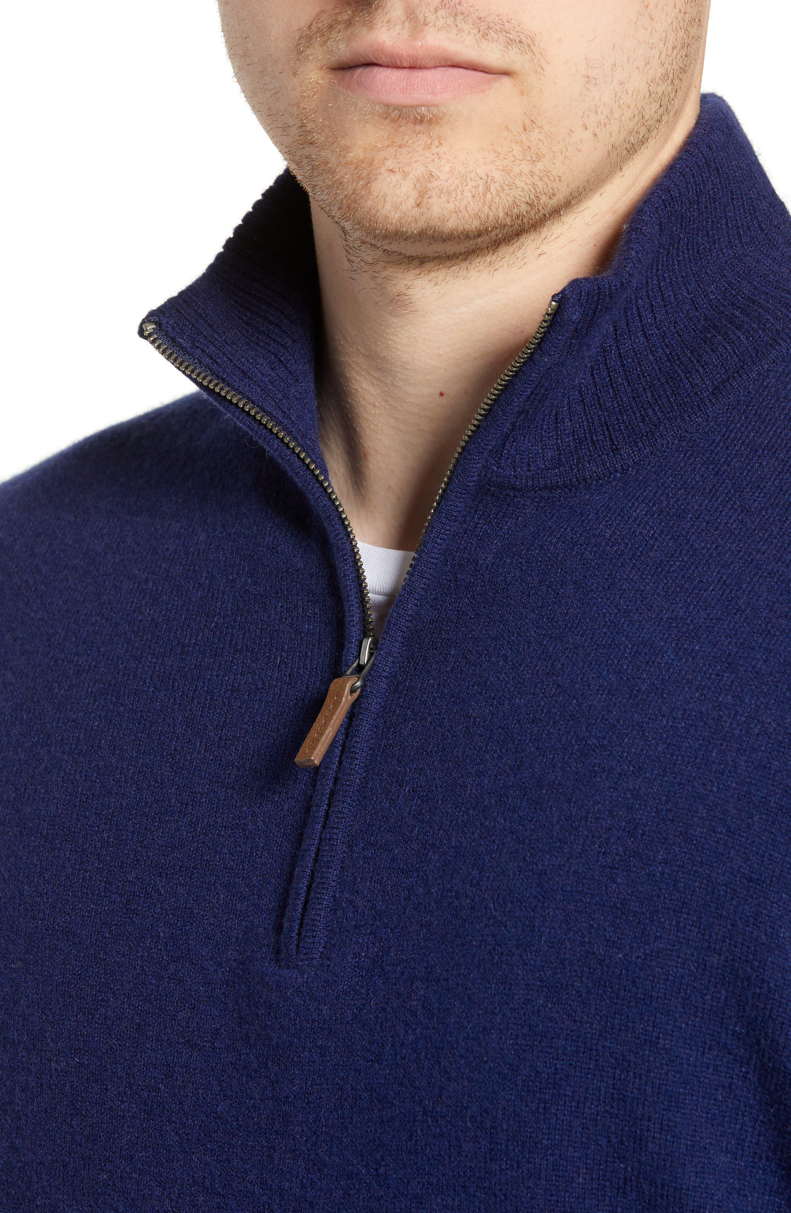 Cashmere Quarter Zip Sweater,                             Alternate thumbnail 4, color,                             410
