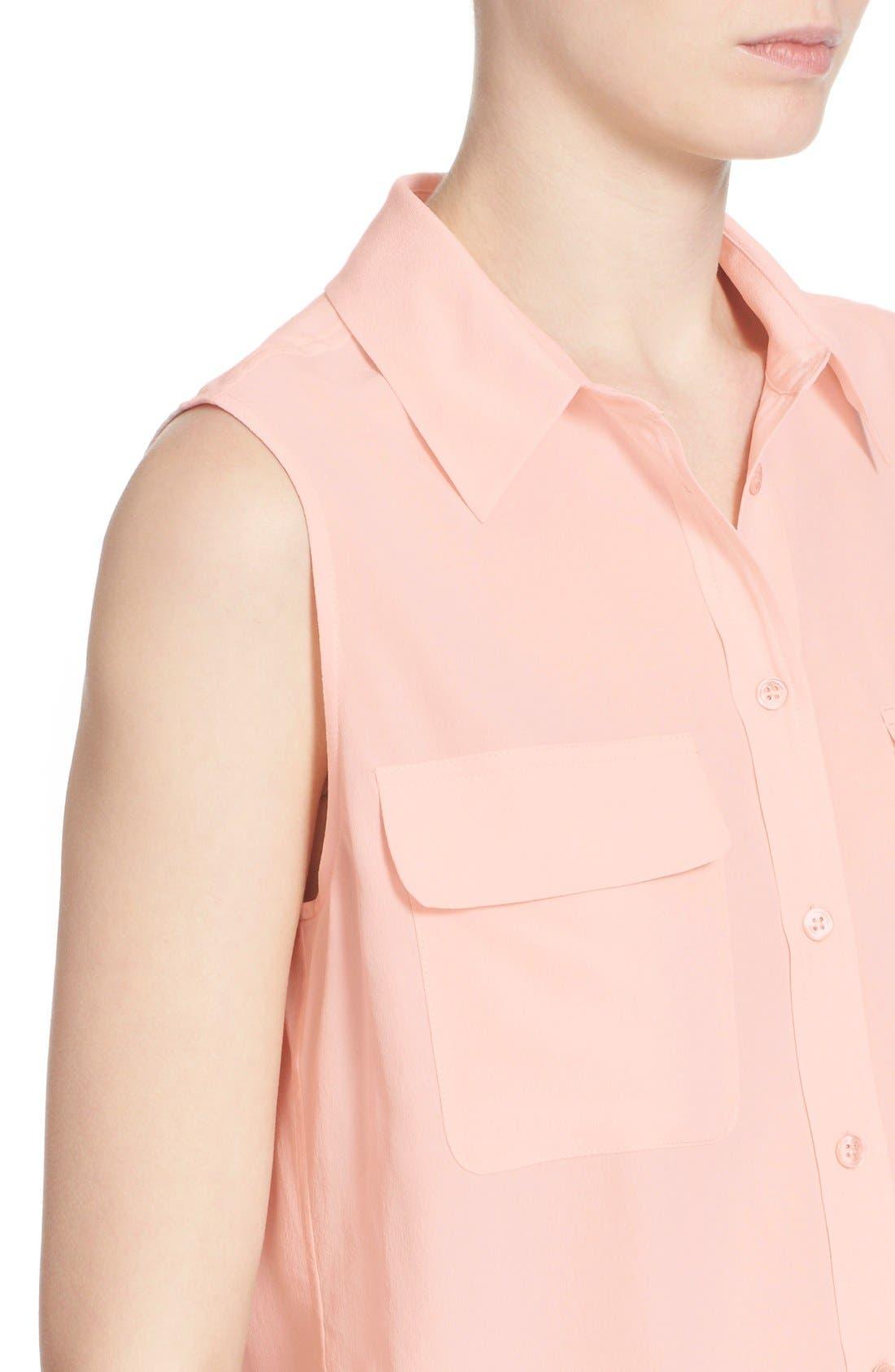 'Slim Signature' Sleeveless Silk Shirt,                             Alternate thumbnail 177, color,