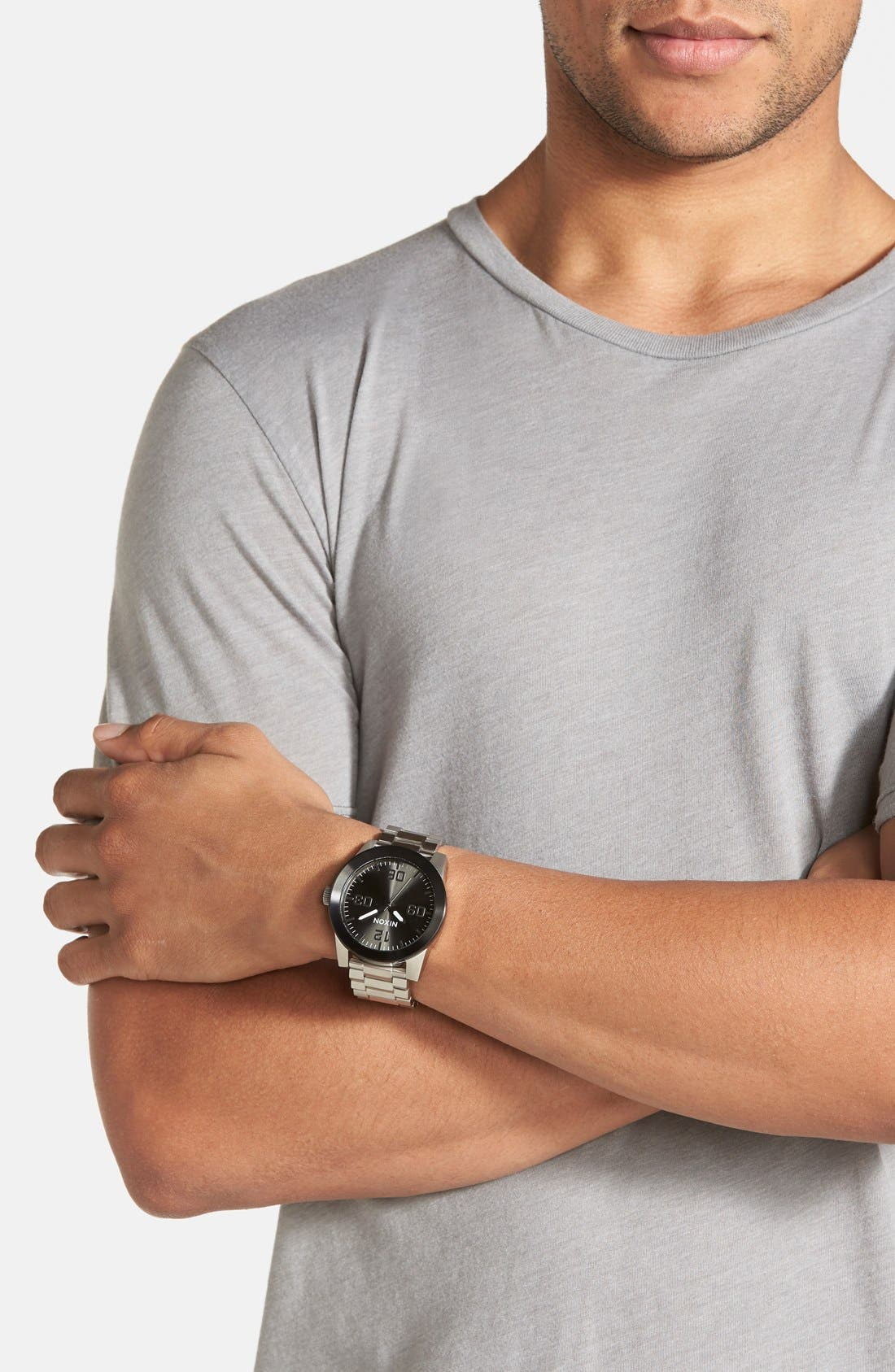 'The Corporal' Bracelet Watch, 48mm,                             Alternate thumbnail 4, color,                             SILVER/ GUNMETAL