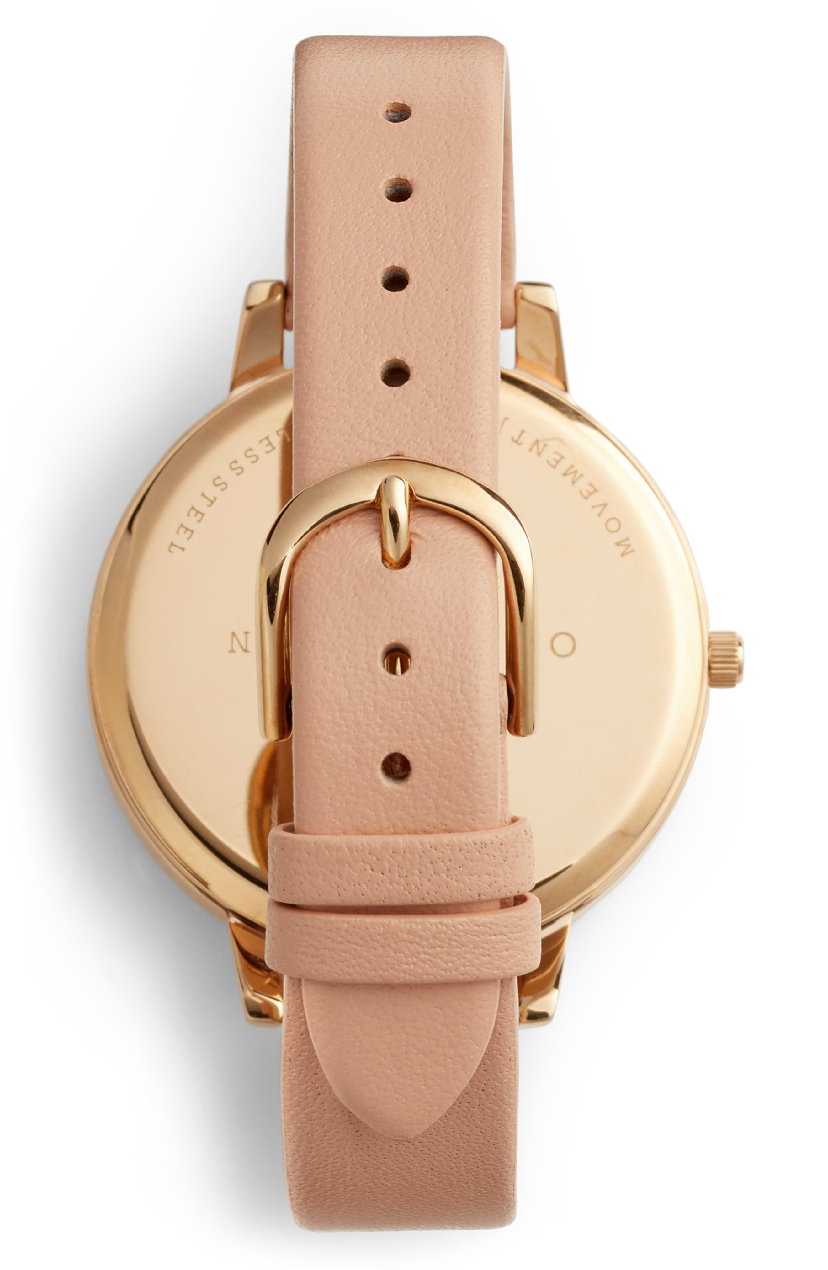 Pretty Blossom Leather Strap Watch, 38mm,                             Alternate thumbnail 2, color,                             BLOSSOM/ WHITE/ ROSE GOLD