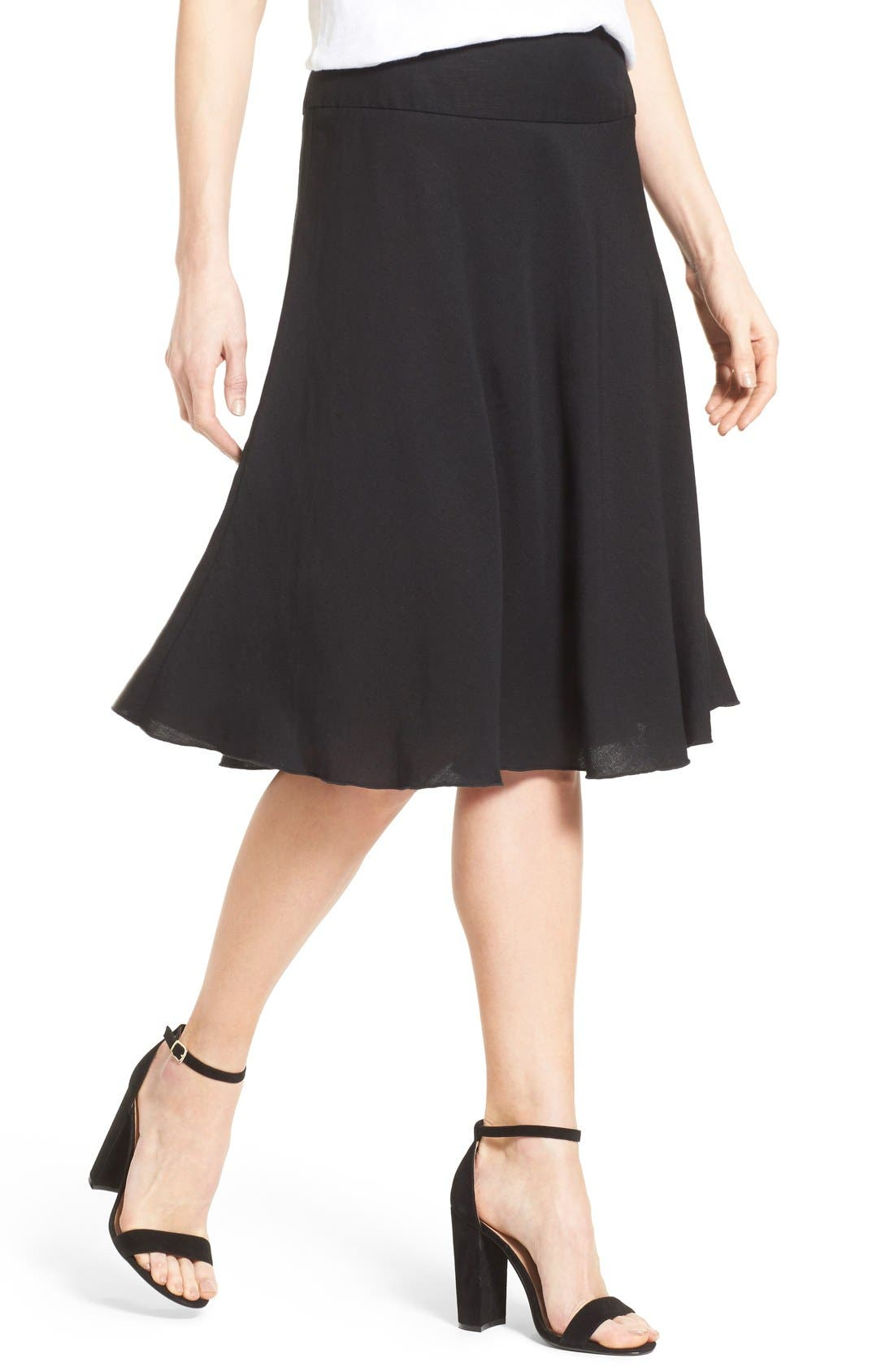 Summer Fling Linen Blend Skirt,                             Alternate thumbnail 4, color,                             BLACK ONYX