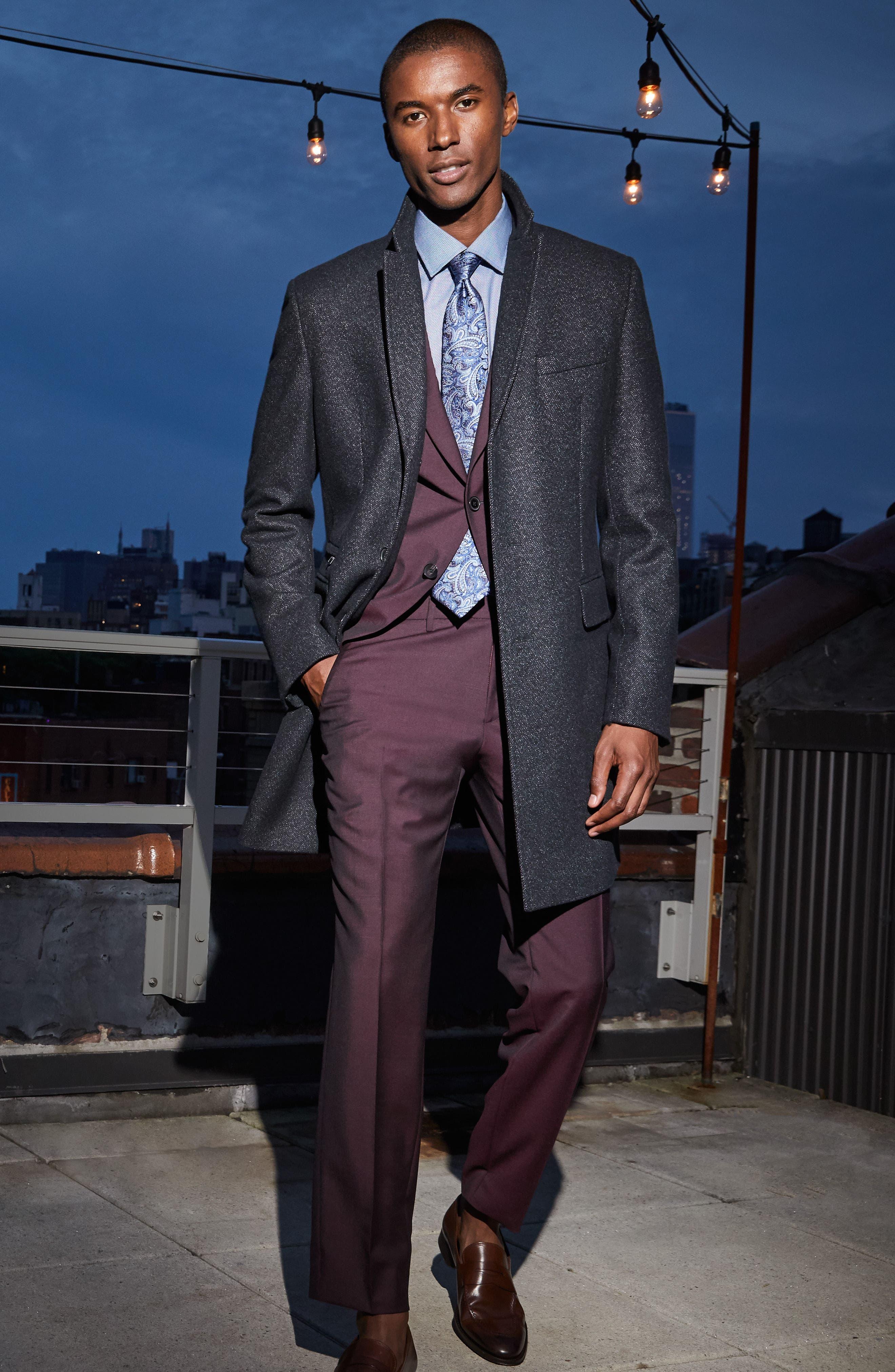 'Jason' Slim Fit Solid Stretch Dress Shirt,                             Alternate thumbnail 3, color,                             BLACK