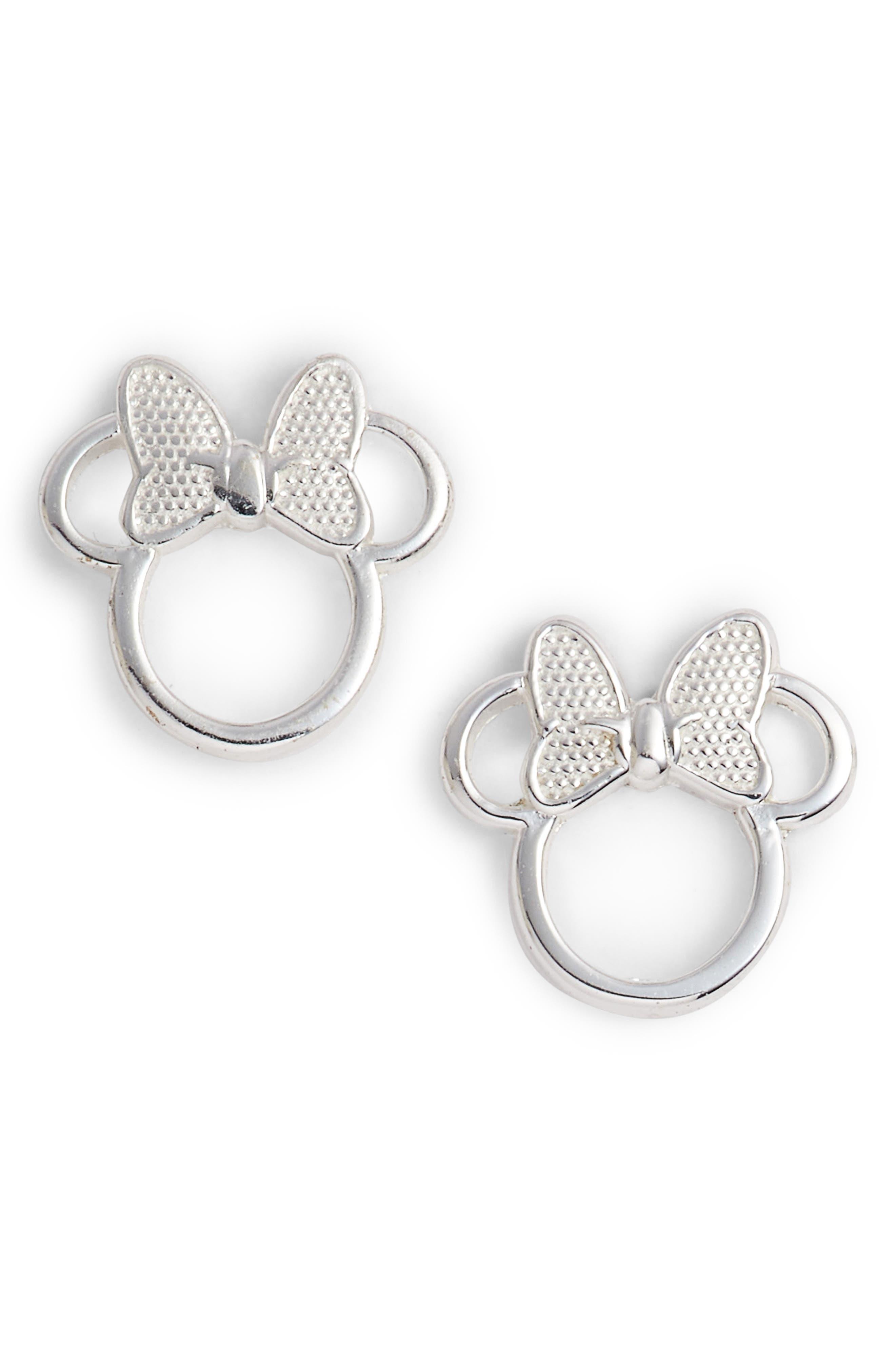 DISNEY,                             Minnie Mouse Stud Earrings,                             Main thumbnail 1, color,                             040