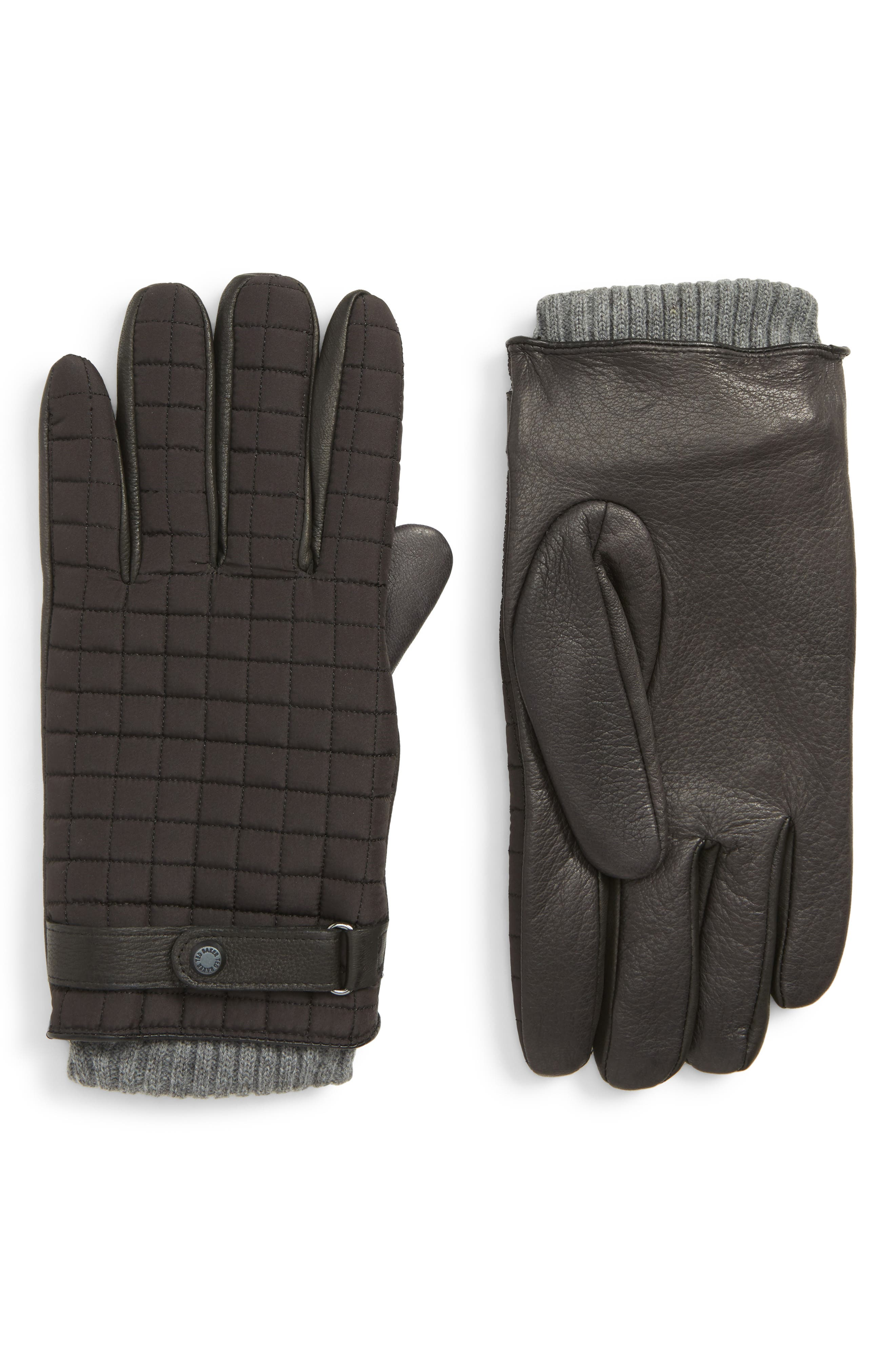 Ted Baker London Quilted Leather Gloves, Black