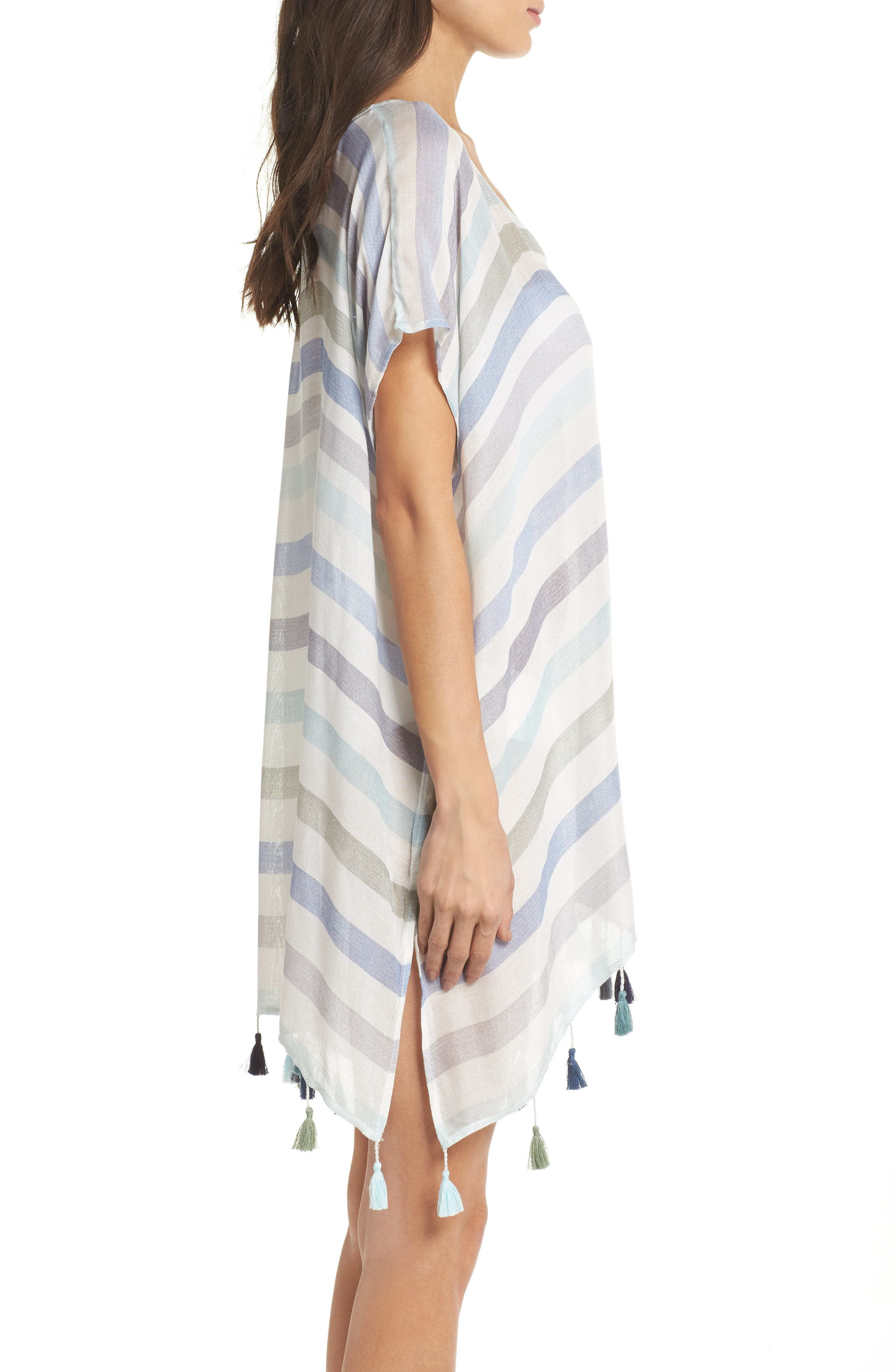 Stripe Tassel Cover-Up Tunic,                             Alternate thumbnail 3, color,                             GYPSY BLUE