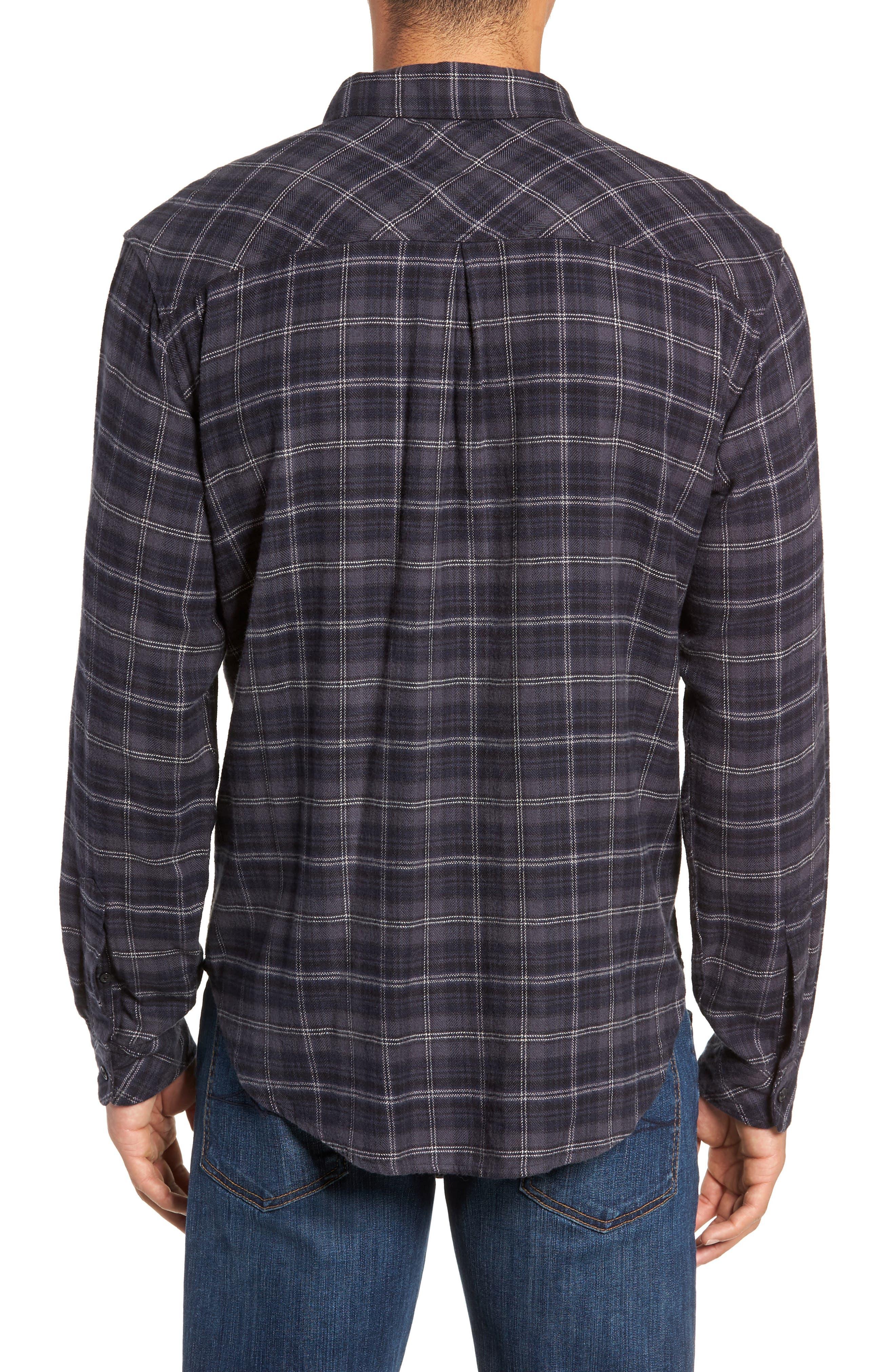 Lennox Slim Fit Plaid Sport Shirt,                             Alternate thumbnail 3, color,                             BLUE SMOKE/NAVY/BLACK