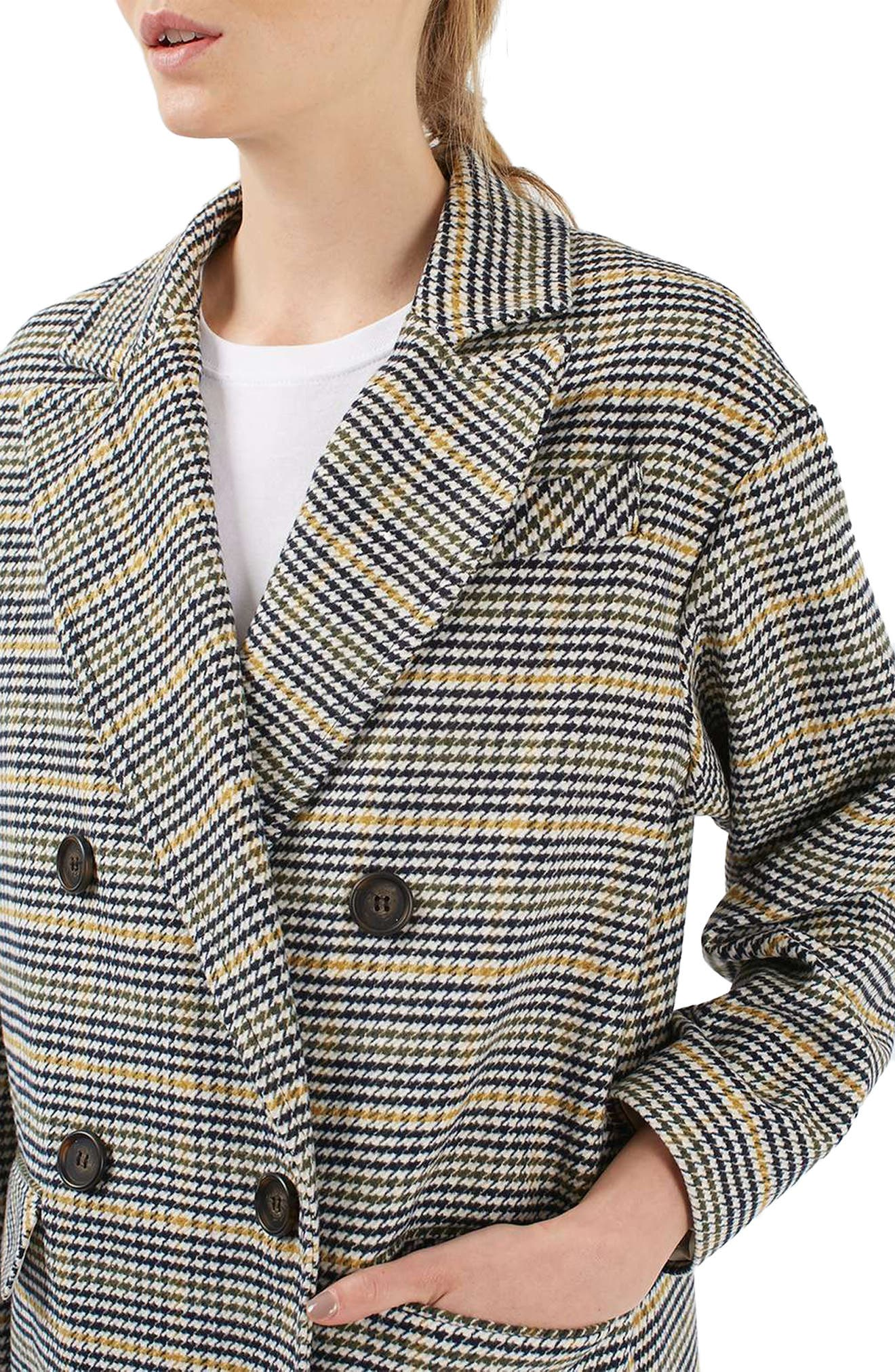 TOPSHOP,                             Heritage Check Coat,                             Alternate thumbnail 4, color,                             001
